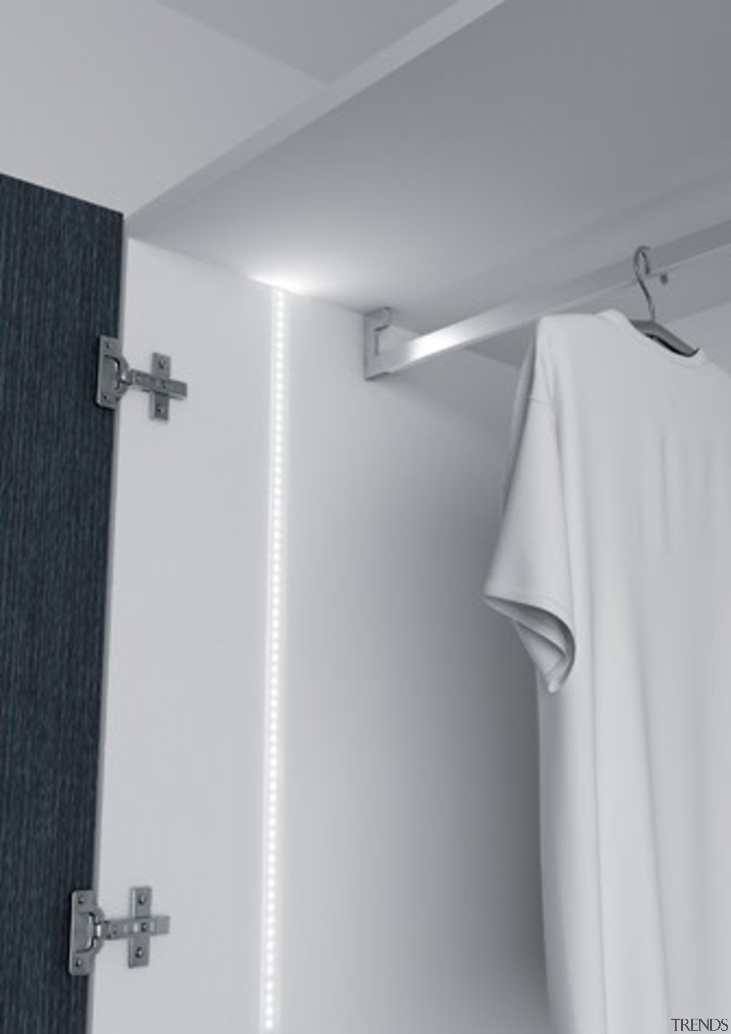 Domus Line String LED Profile Designed in Italy to angle, bathroom, light, plumbing fixture, product design, shower, tap, wall, gray