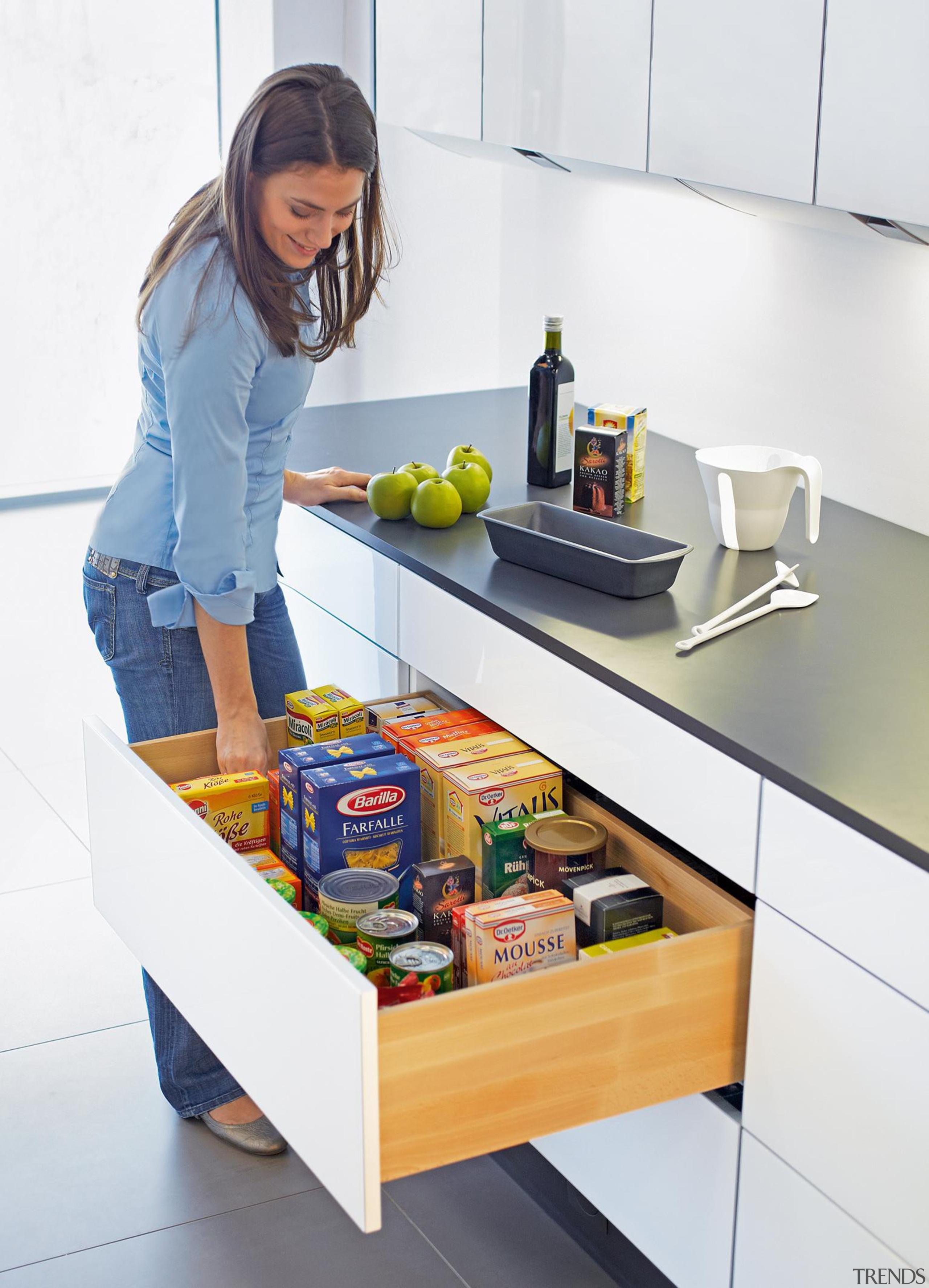 The unique prism principle also guarantees maximum lateral furniture, kitchen, product, product design, shelf, shelving, table, white