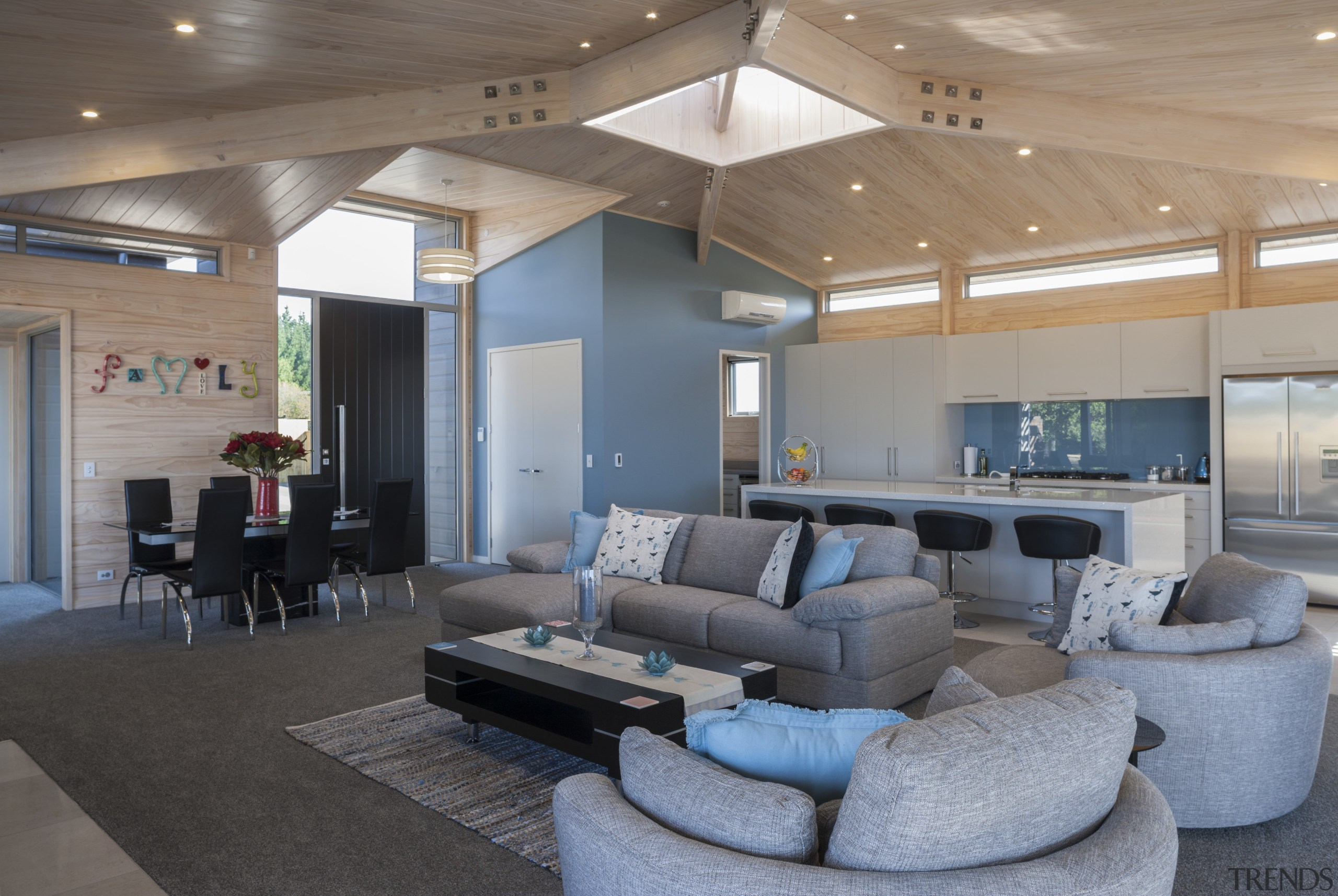 Lockwood Home built by Peter Richards - Lockwood architecture, ceiling, house, interior design, living room, lobby, real estate, gray