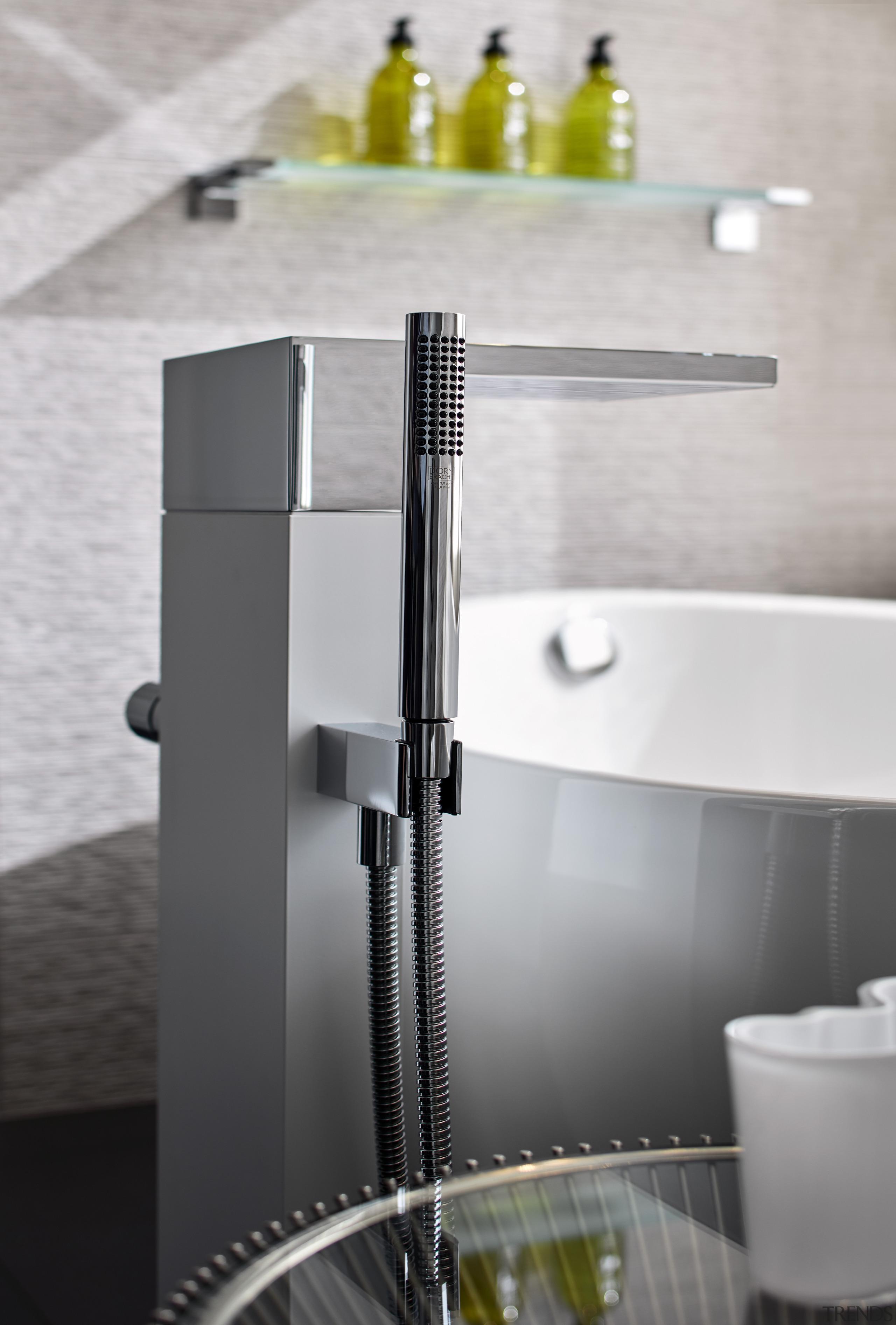 A freestanding Dornbracht tub filler is just one bathroom, plumbing fixture, sink, tap, gray