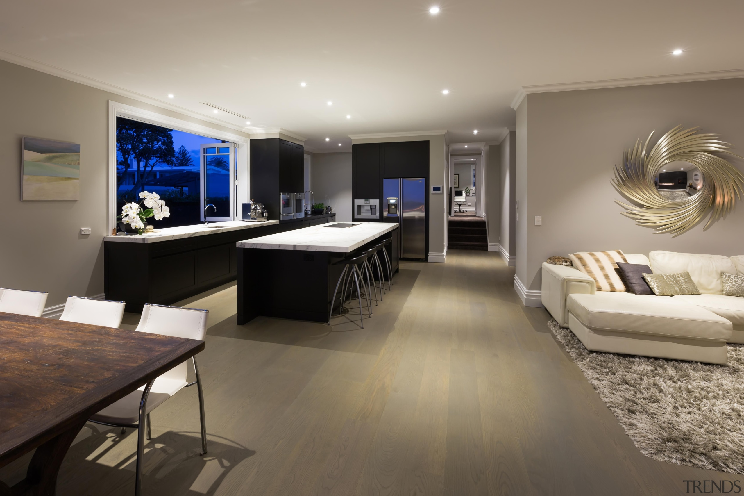 21 living after - Living After - floor floor, flooring, interior design, living room, real estate, room, gray, brown