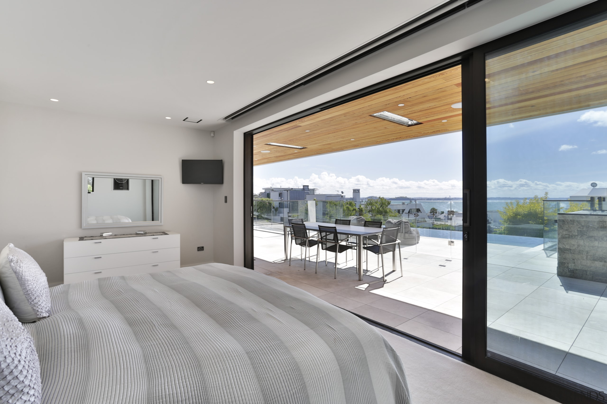 This master bedroom in a harbourview home is gray