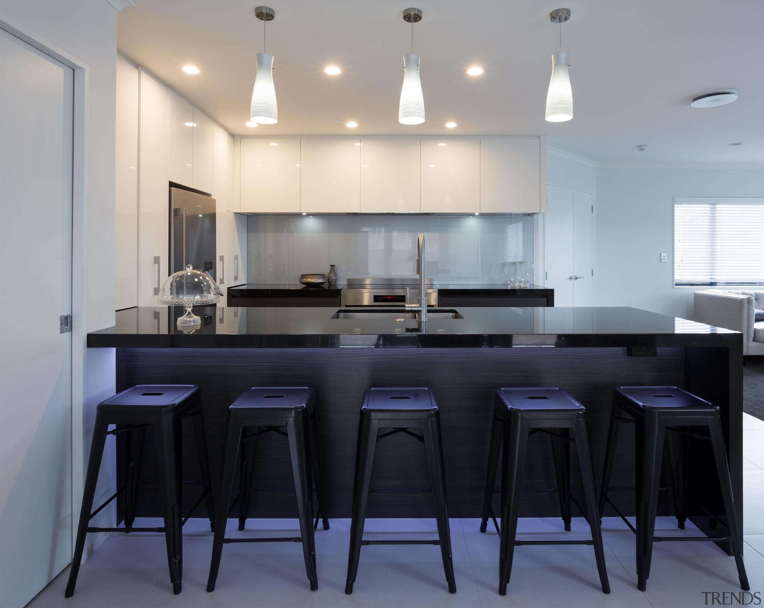 designatek gloss, designatek textured, profile handle, bar fridge, countertop, cuisine classique, interior design, kitchen, room, table, gray, black
