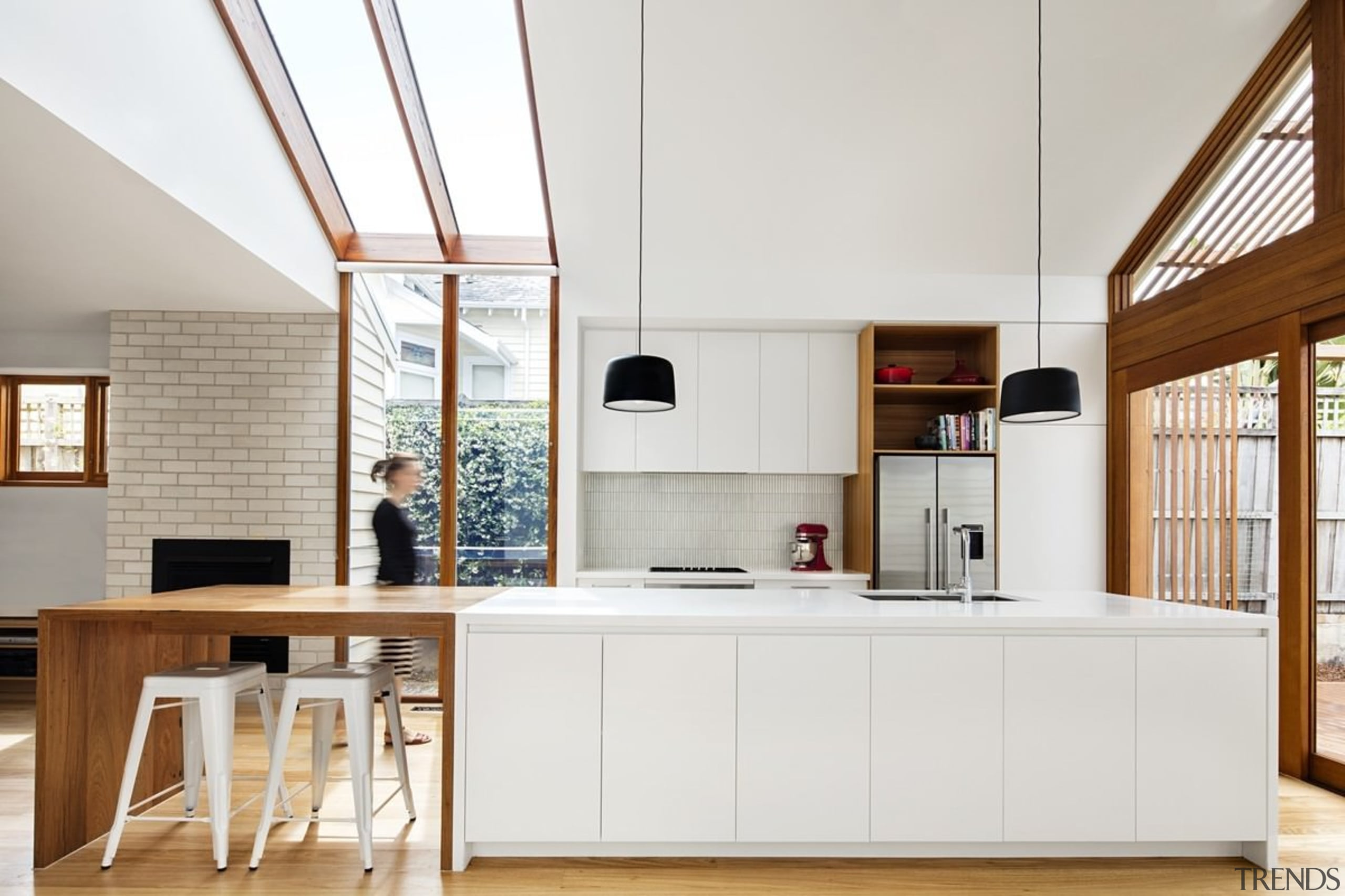 Windows run up from the floor and transform architecture, cuisine classique, furniture, interior design, kitchen, white