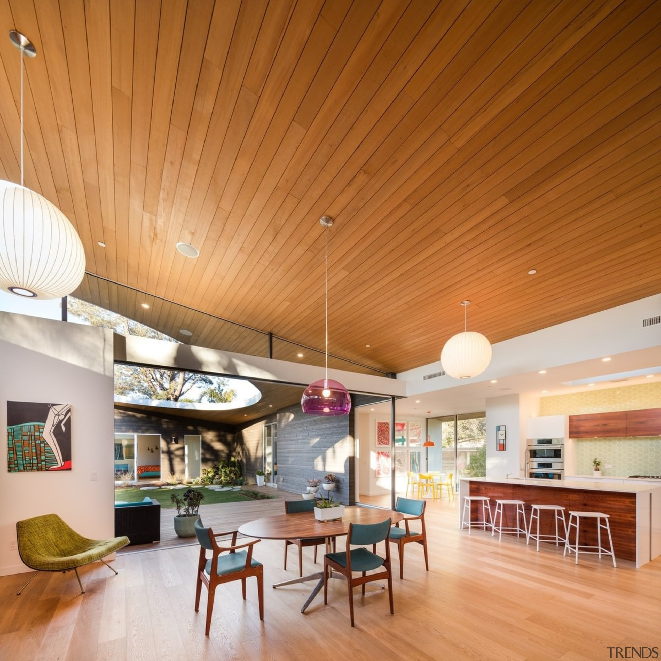 Architect: lloyd russell, aiaPhotography by Darren Bradley architecture, ceiling, daylighting, interior design, living room, lobby, real estate, wood, orange, brown