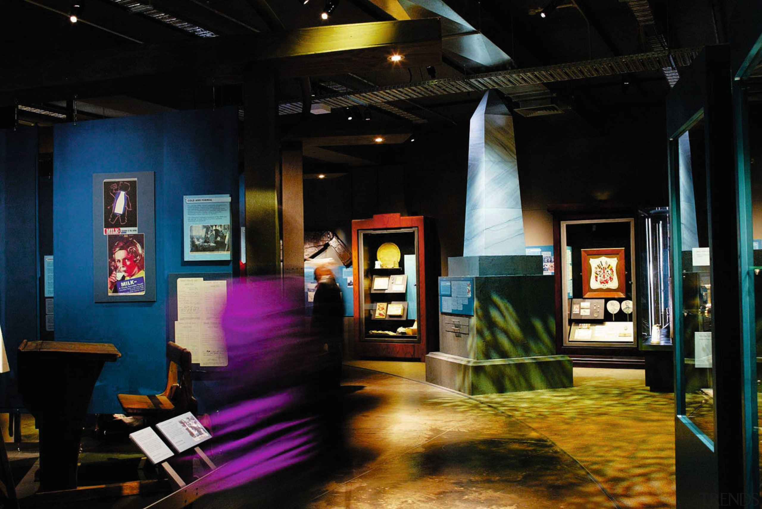 Interior view of museum exhibition with different colours art, exhibition, interior design, tourist attraction, black