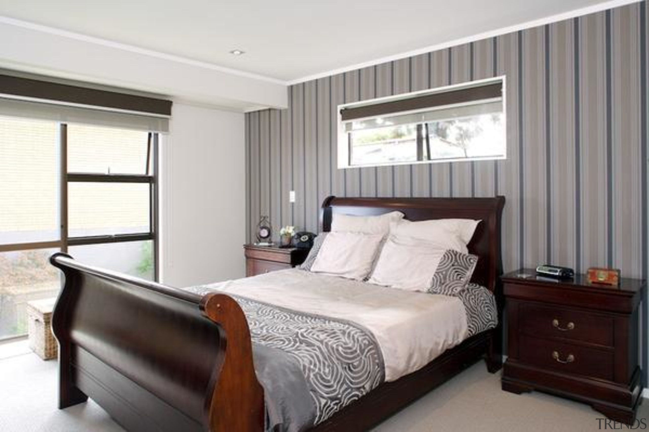Stripes A Perennial Favourite - bed frame   bed frame, bedroom, ceiling, home, interior design, property, real estate, room, window, window covering, window treatment, white, gray