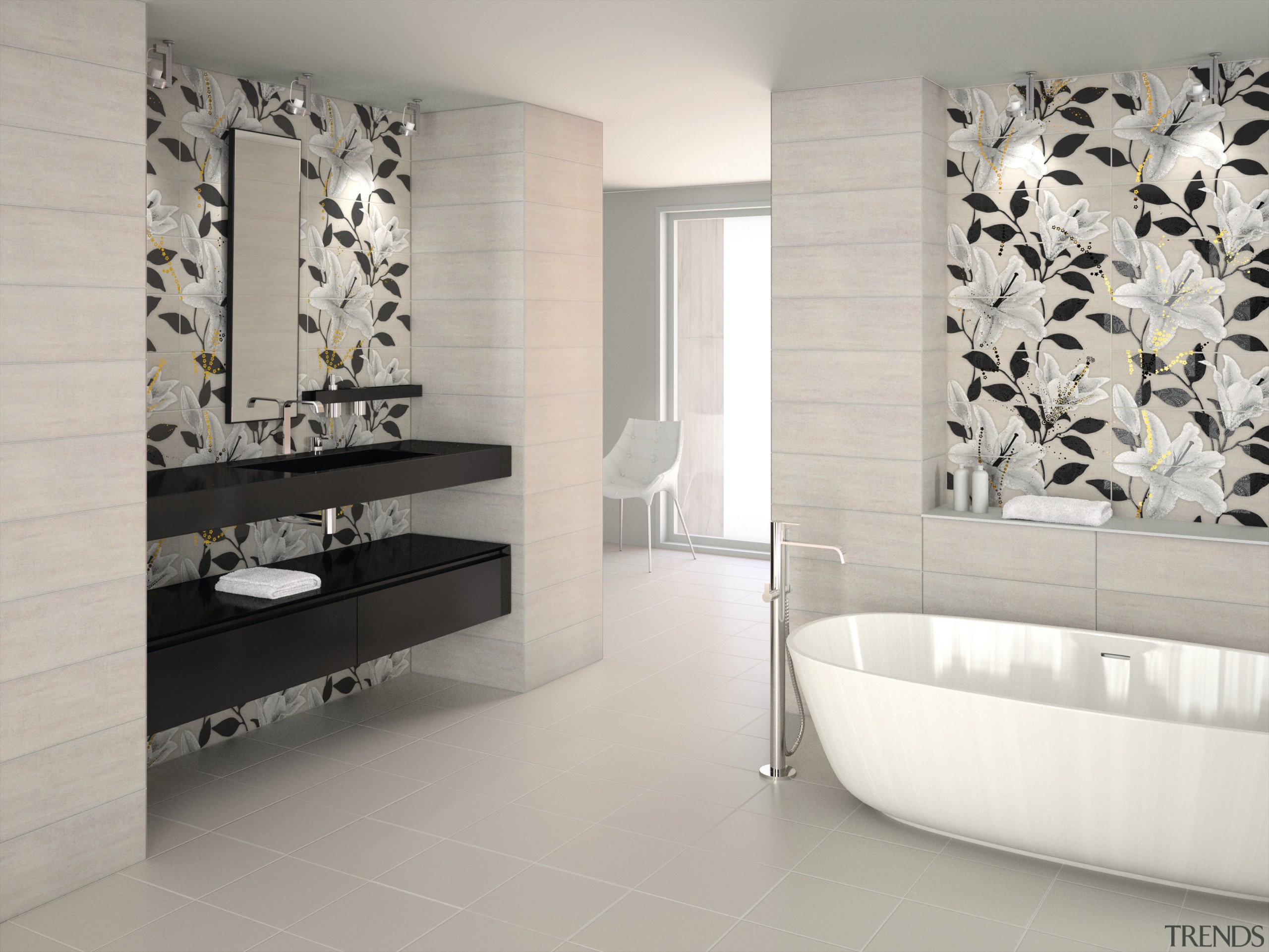 Tile Trends imports tiles from all corners of bathroom, ceramic, floor, flooring, interior design, product design, room, tap, tile, wall, gray