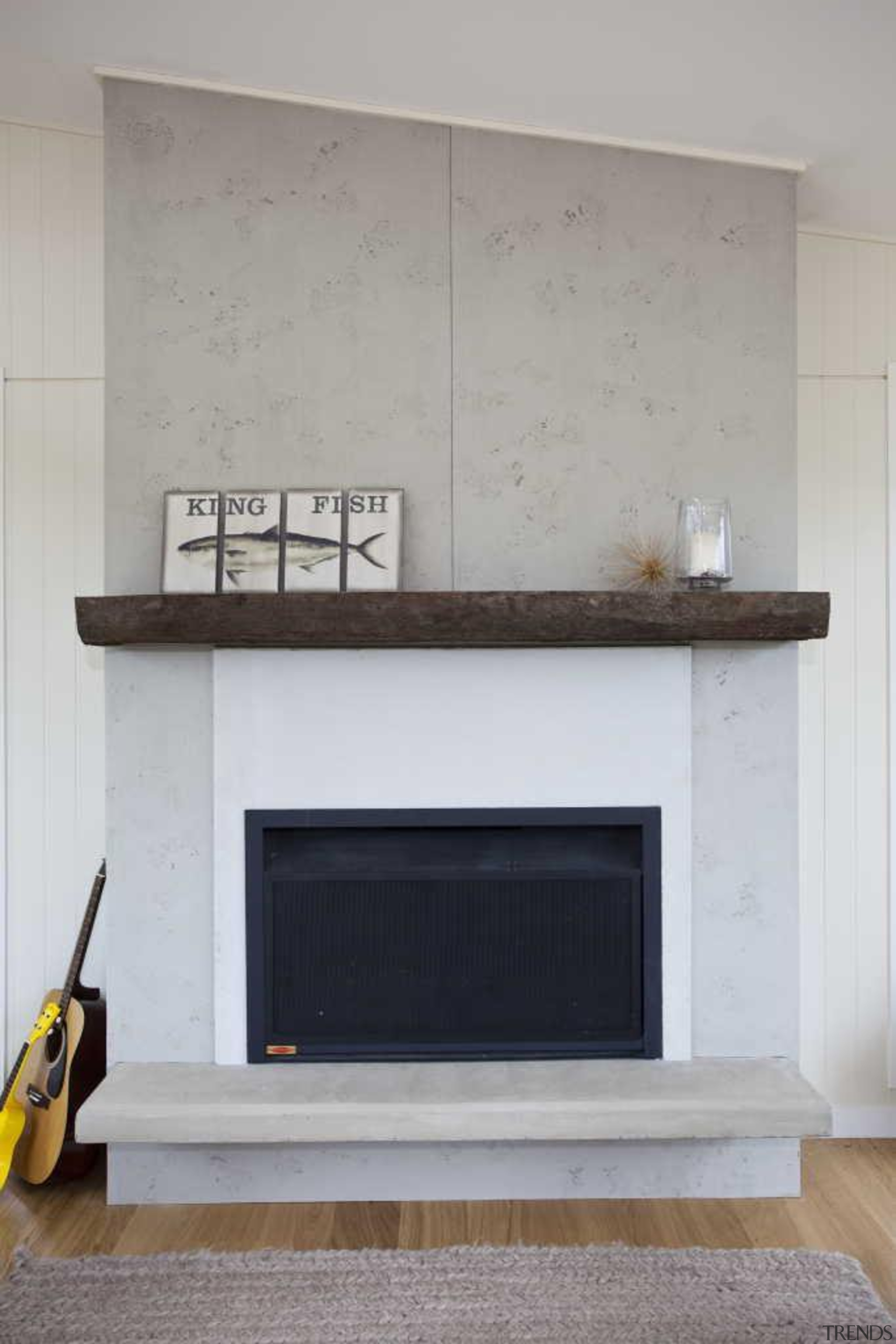 Contemporary wood flooring - Fireplace - fireplace   fireplace, furniture, hearth, wall, gray