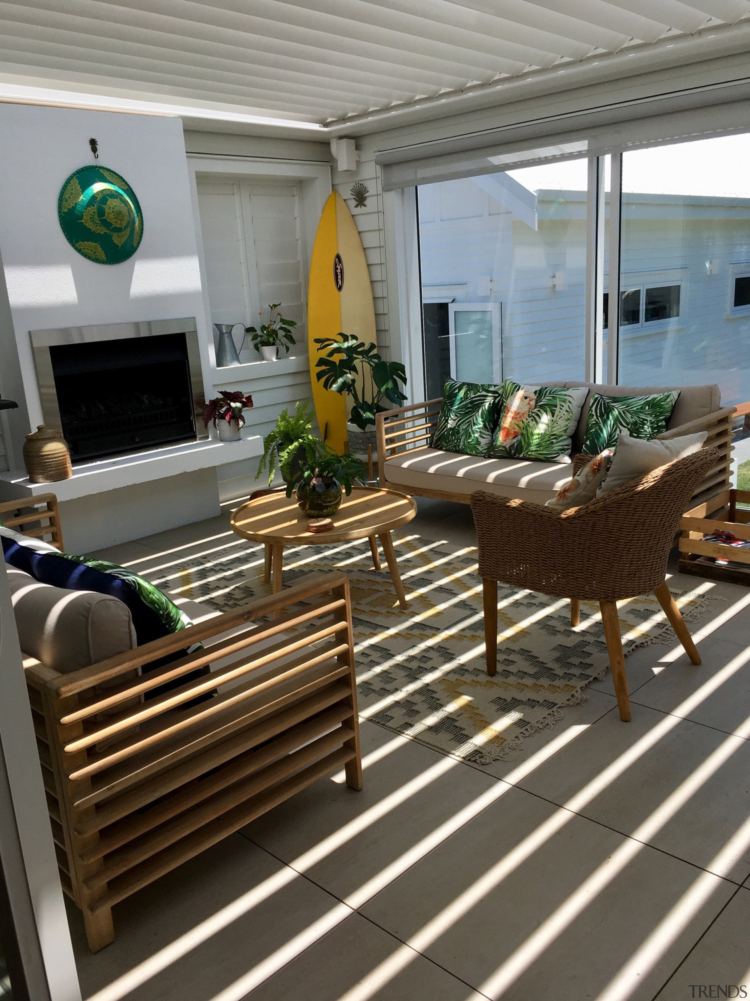 Louvretec - balcony | building | ceiling | balcony, building, ceiling, deck, floor, flooring, furniture, hardwood, home, house, interior design, living room, patio, porch, property, real estate, roof, room, table, gray
