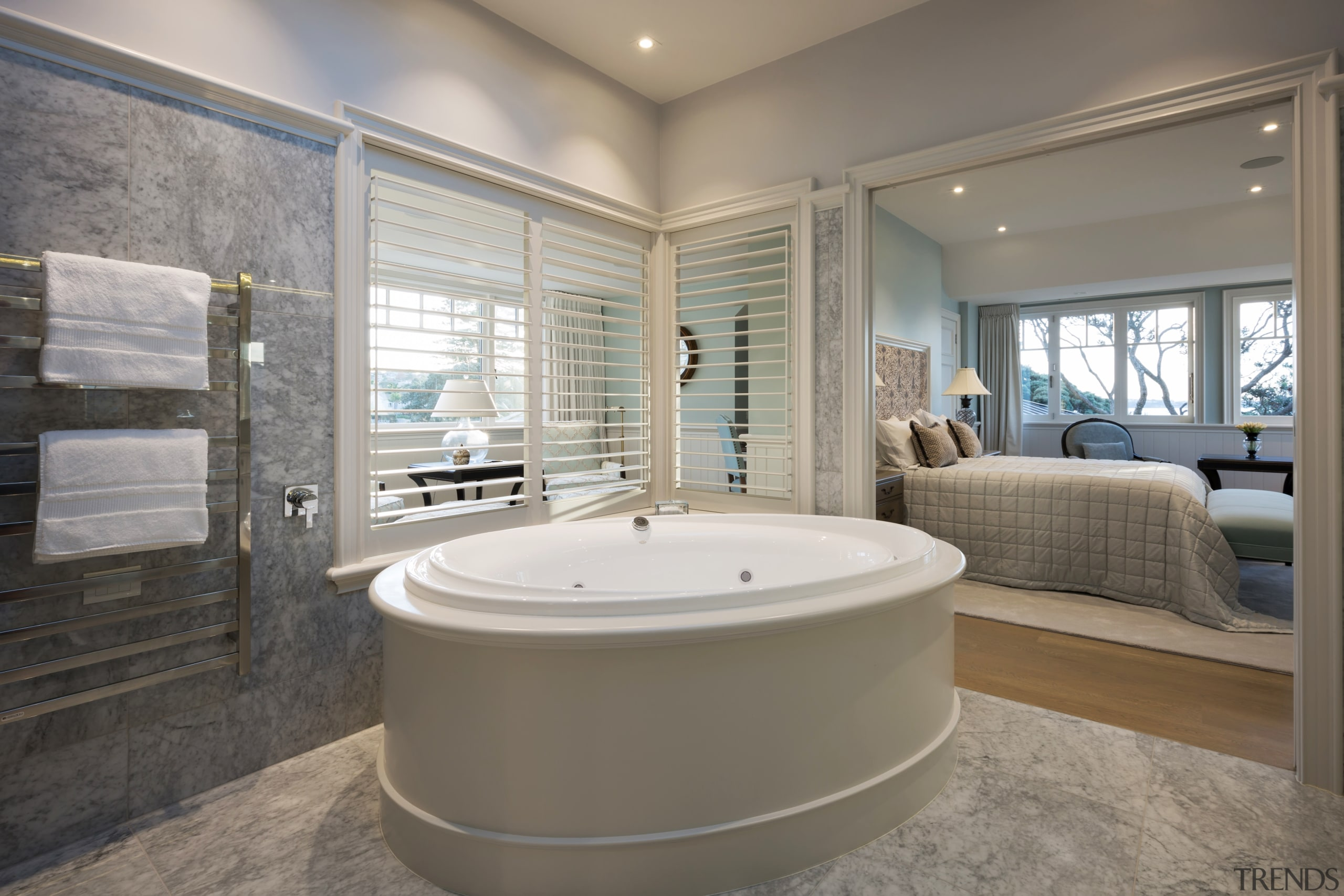 Open sesame  a push of a pocket bathroom, bathtub, estate, floor, home, interior design, real estate, room, window, gray