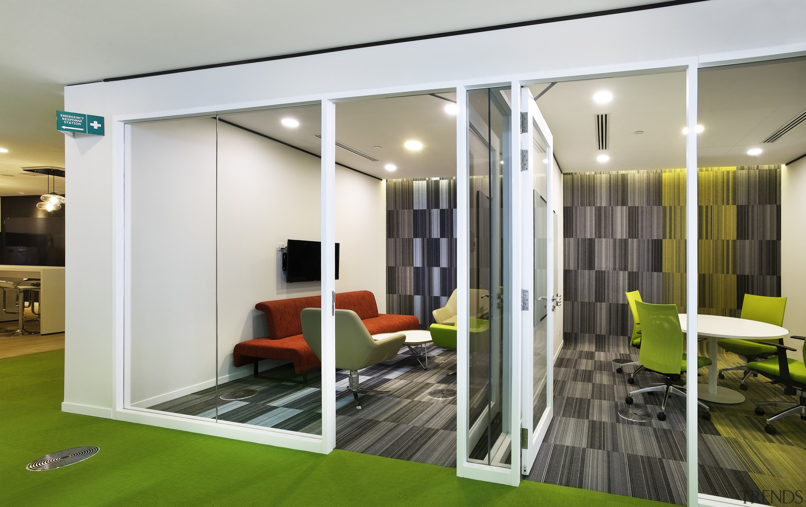 Typical meeting rooms on office floors of the architecture, ceiling, interior design, lobby, real estate, white, gray