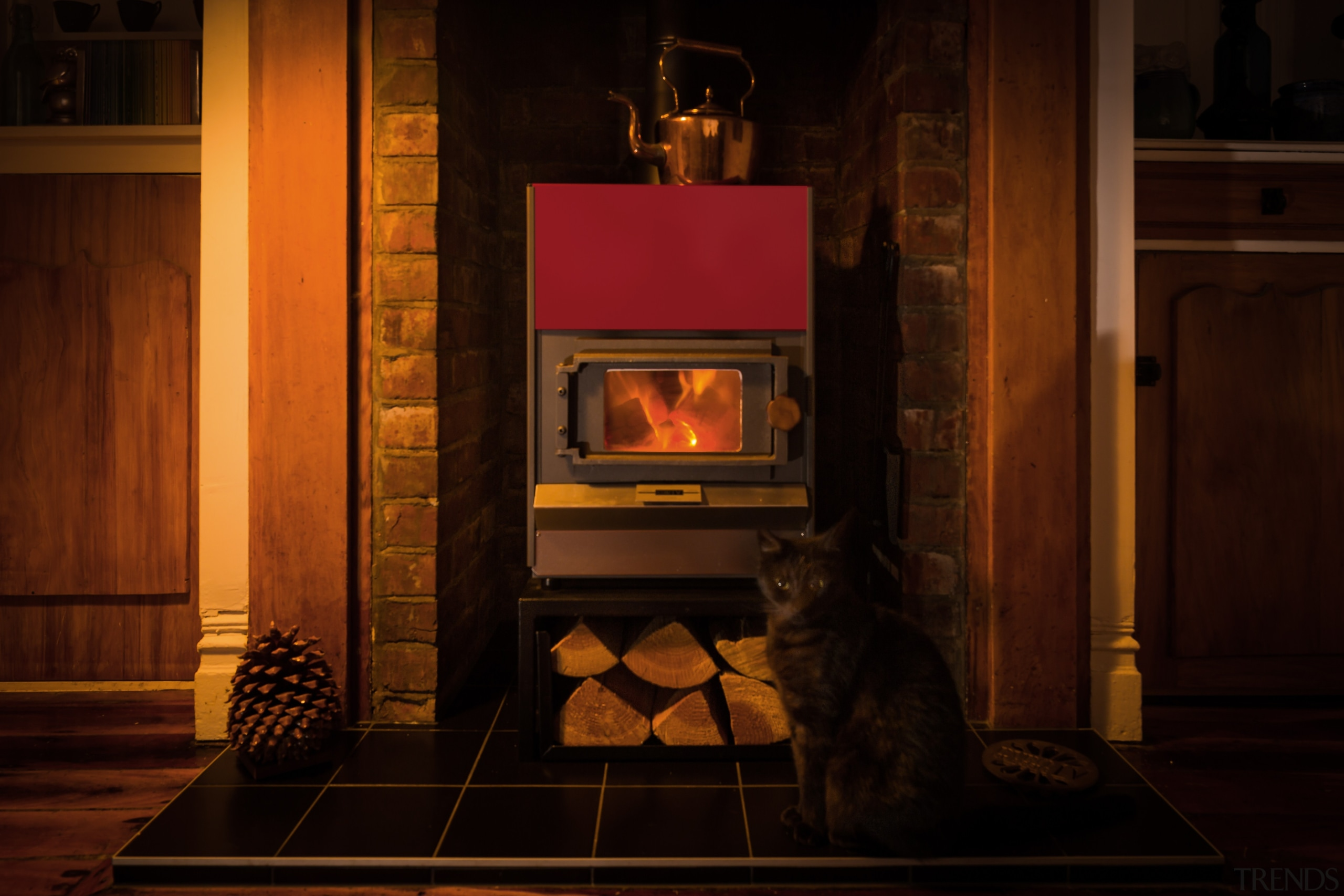 Pyroclassic IV on a mini woodbin and traditional fireplace, flooring, hearth, heat, home, home appliance, stove, wood, wood burning stove, black