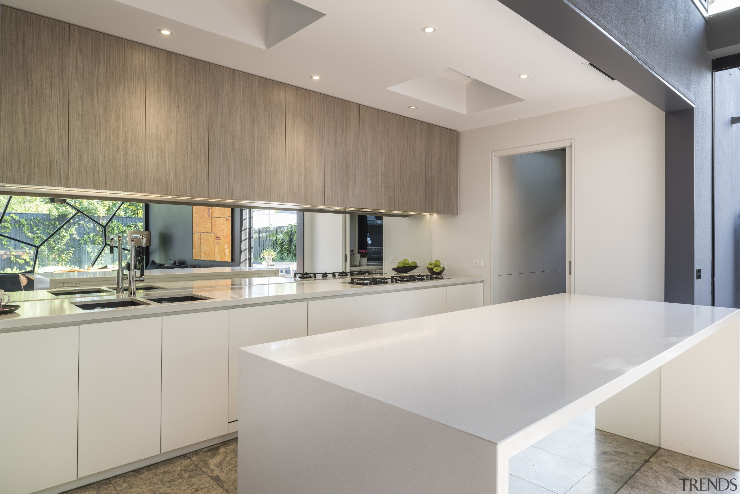 Those are not cracks in a kitchen window architecture, countertop, house, interior design, kitchen, property, real estate, gray