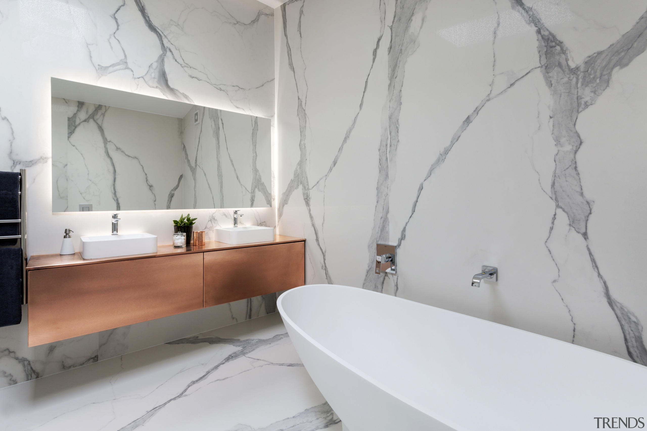 The upmarket aesthetic in this bathroom is achieved architecture, bathroom, floor, home, interior design, product design, room, tap, tile, wall, gray