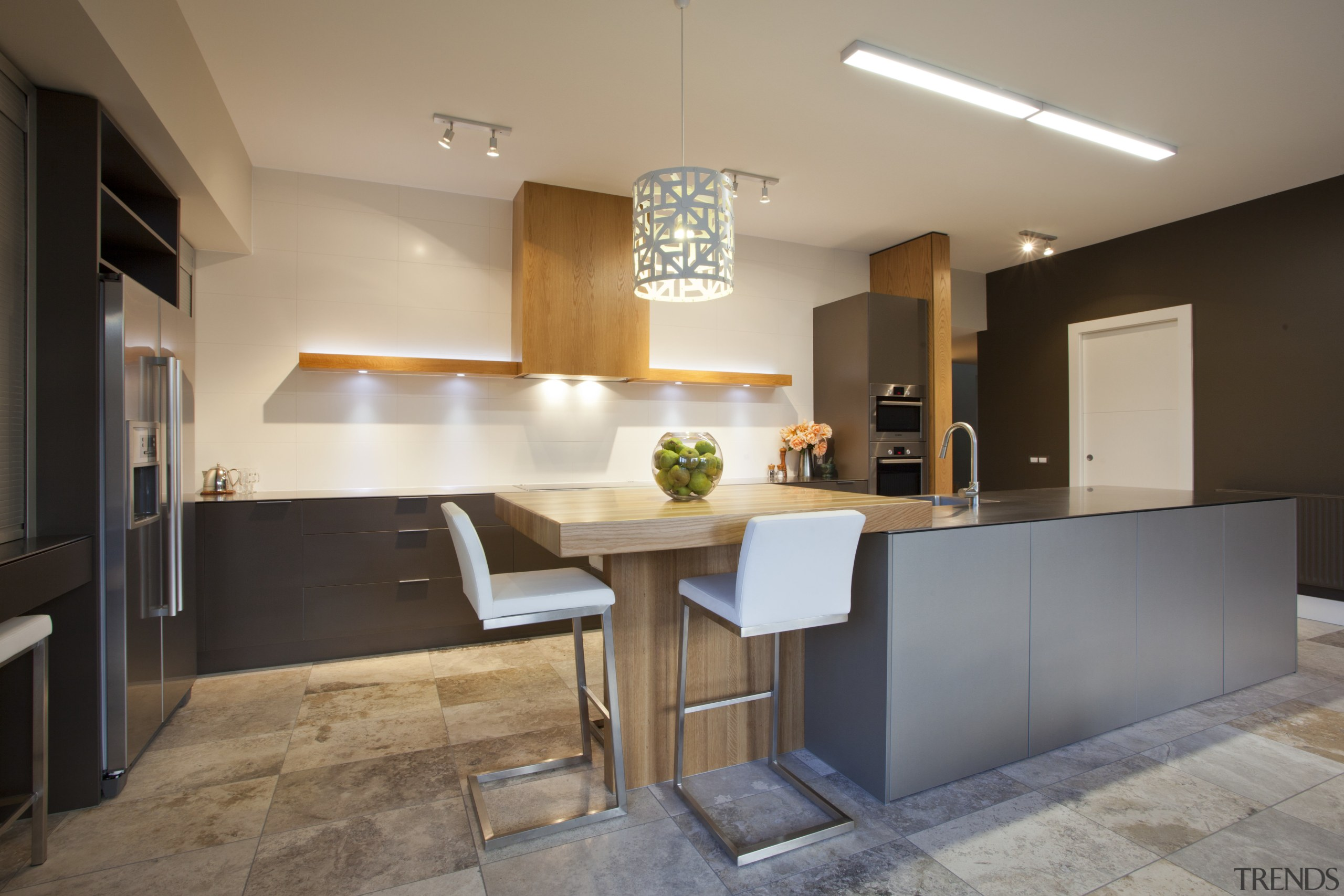 stainless steel appliances and benchtops. Wooden bar top architecture, cabinetry, countertop, cuisine classique, interior design, kitchen, real estate, room, table, gray