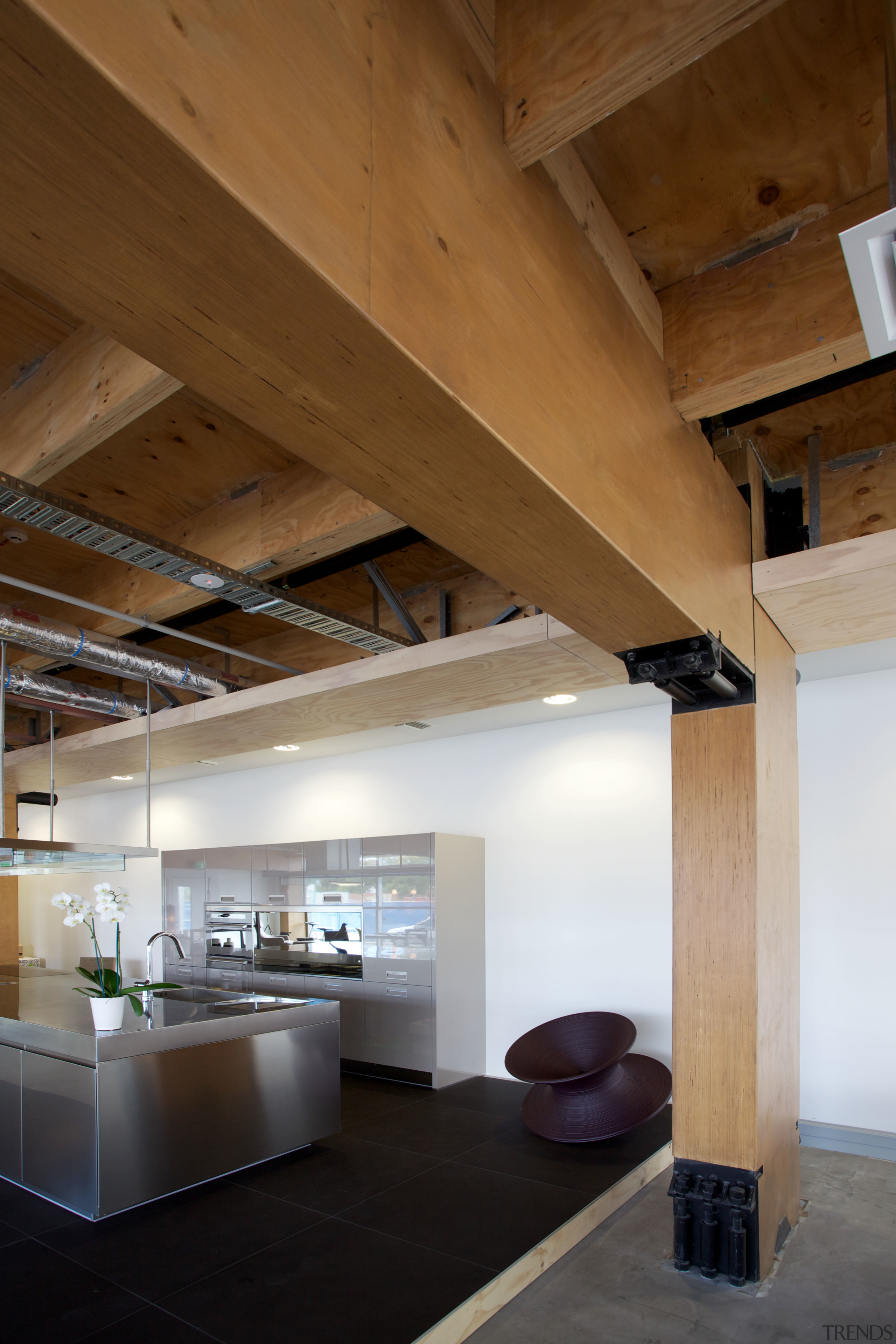 New seismic structural systems technology is transforming the architecture, beam, ceiling, daylighting, house, interior design, loft, wood, brown