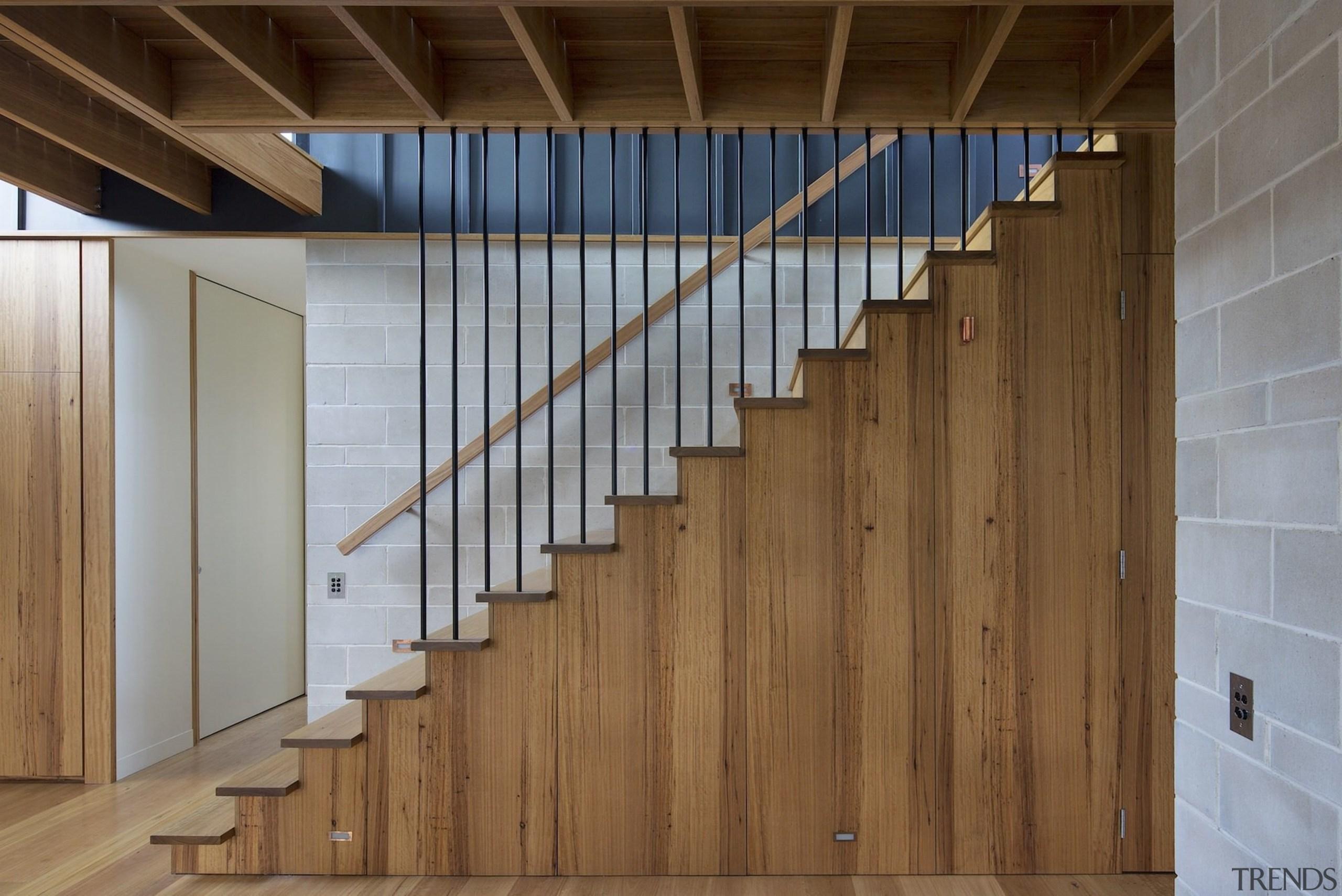 Wooden interiors gives a very rustic look - architecture, daylighting, door, facade, floor, flooring, handrail, hardwood, interior design, laminate flooring, stairs, structure, wall, wood, wood flooring, wood stain, brown, gray