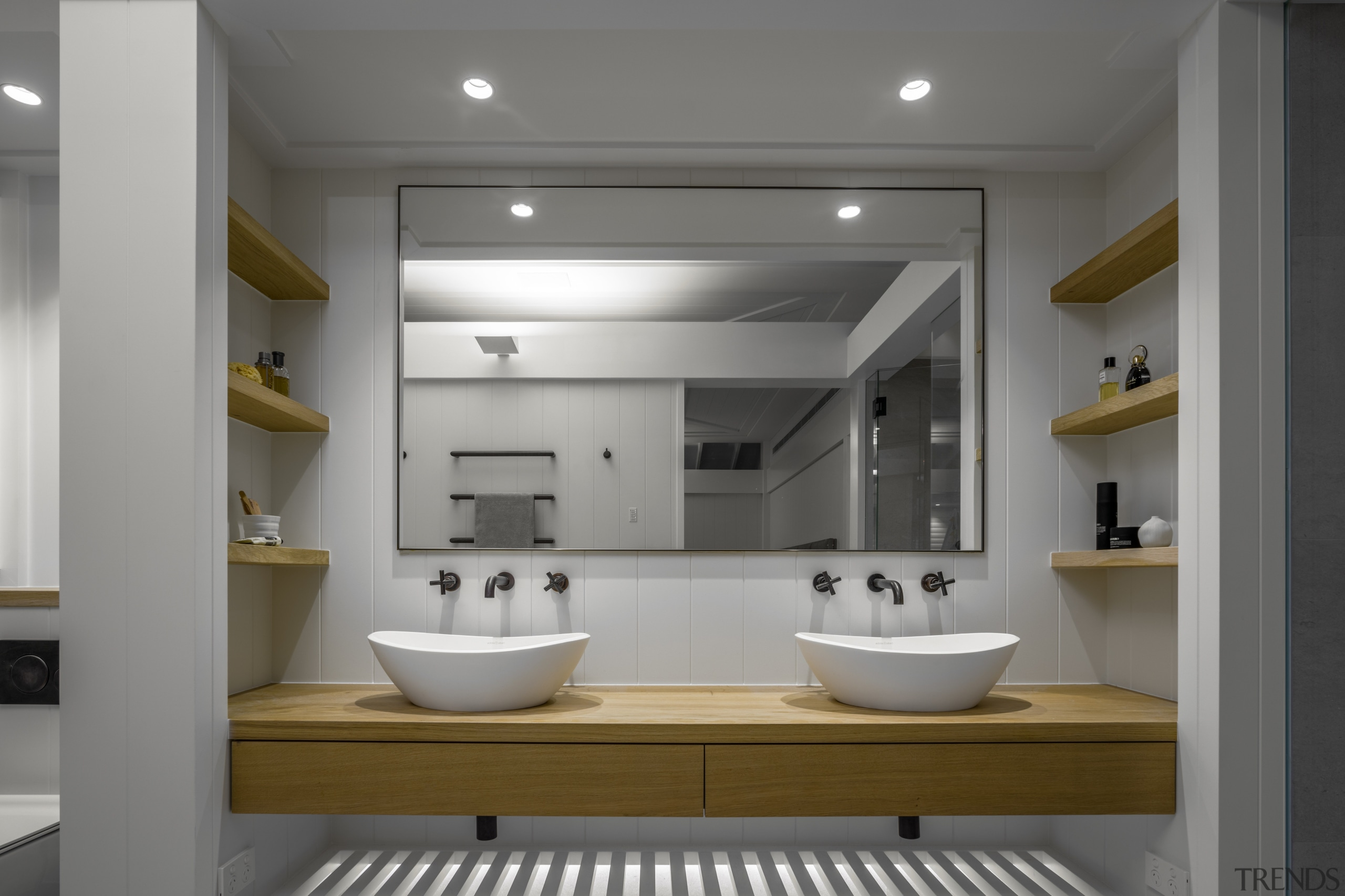 ​​​​​​​This bathroom design reflects the new home's classic-Hamptons-with-a-twist architecture, bathroom, bathroom accessory, bathroom cabinet, bathtub, home, house, interior design, plumbing fixture, double sinks, french oak vHither Consultinganity,