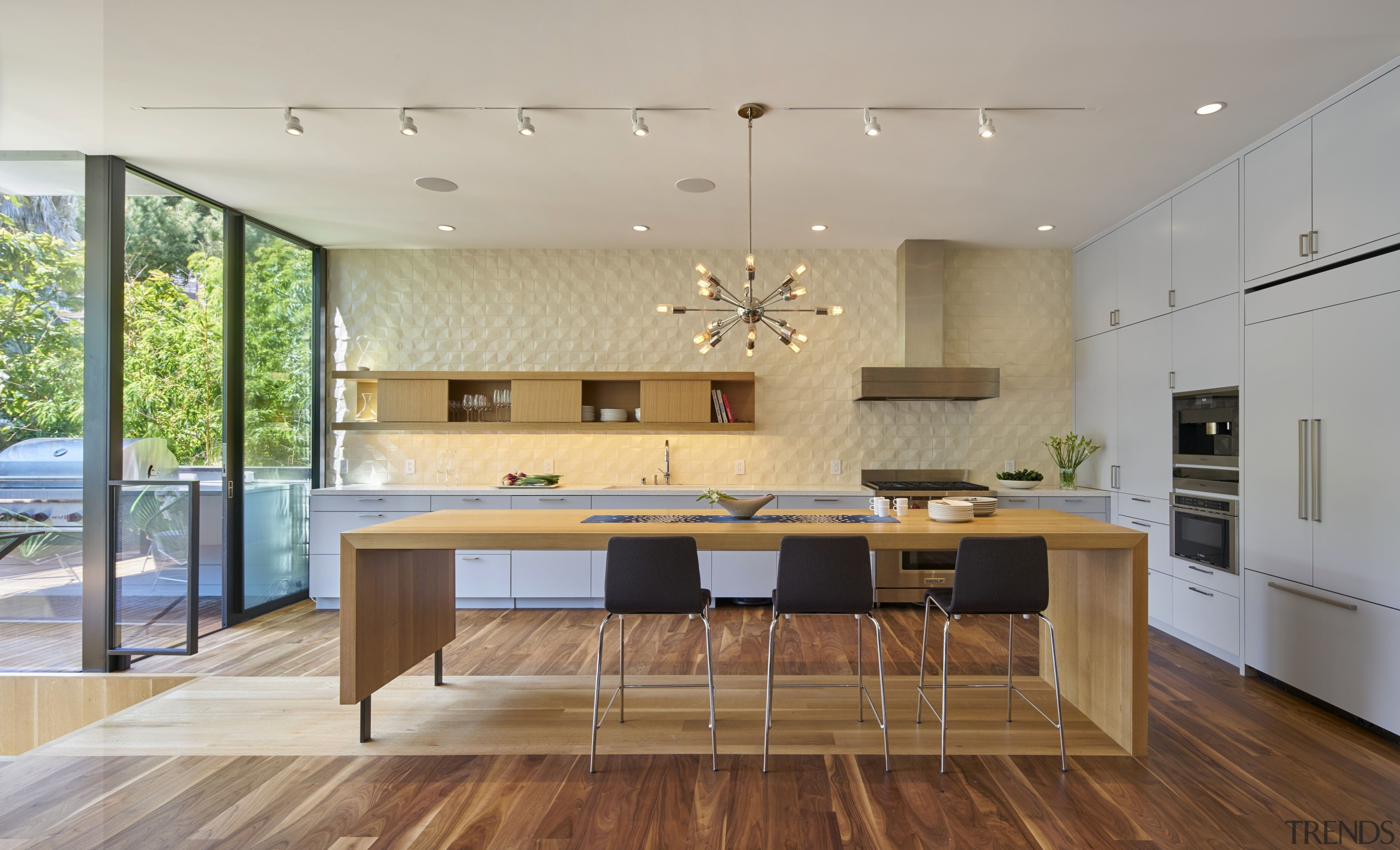 When its also a dining table. That was architecture, ceiling, countertop, floor, flooring, hardwood, house, interior design, interior designer, kitchen, laminate flooring, room, table, wood flooring, gray
