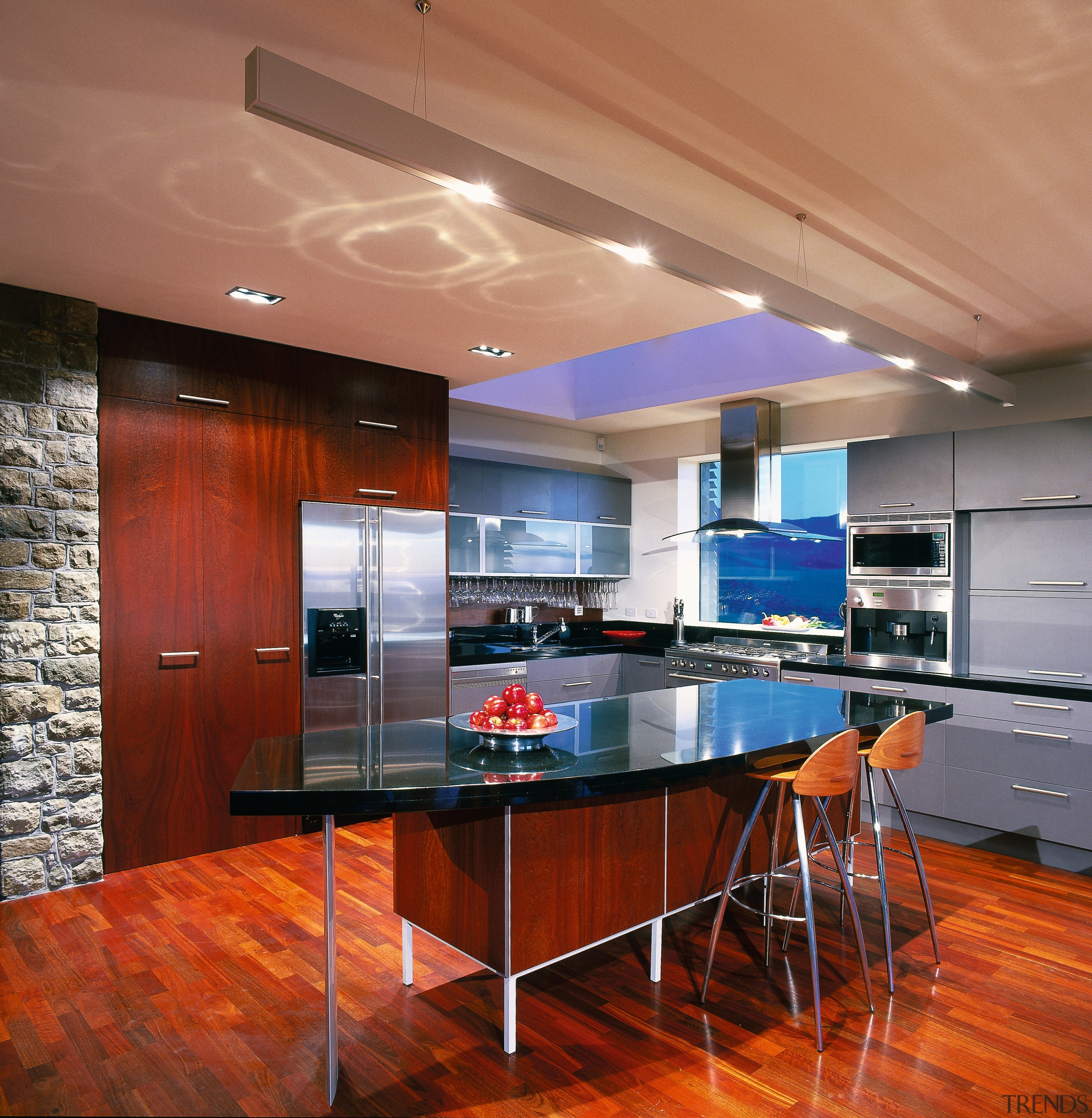 view of modern kitchen area - view of cabinetry, ceiling, countertop, floor, flooring, hardwood, interior design, kitchen, real estate, wood, wood flooring, red