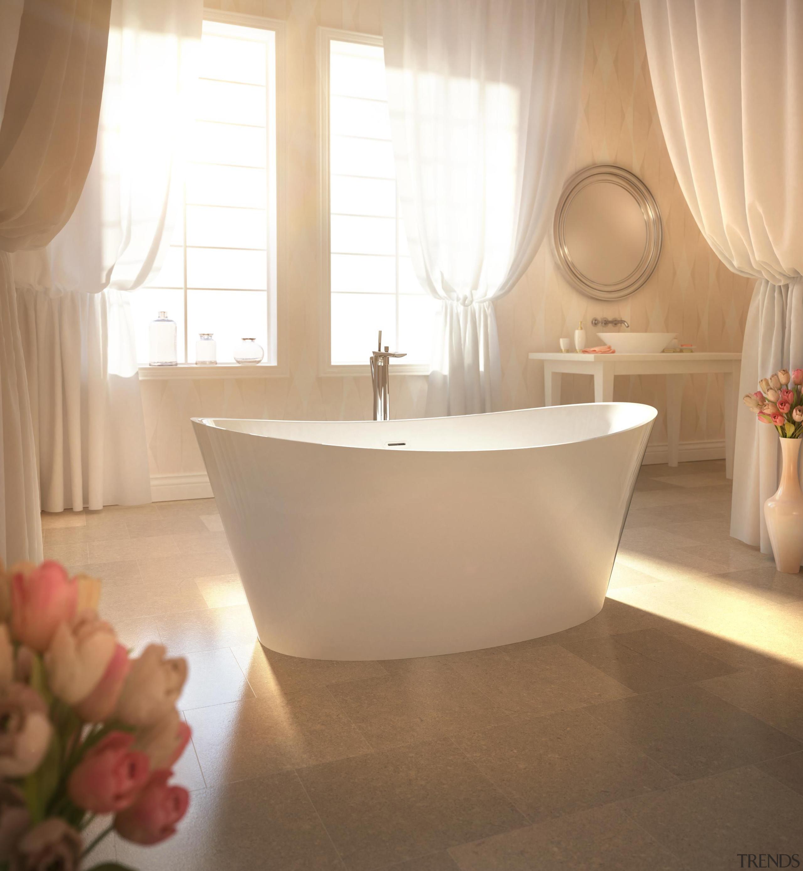 The Evanescence collection of freestanding baths is stunning bathroom, bathroom sink, bathtub, ceramic, floor, flooring, interior design, plumbing fixture, product design, room, sink, tap, tile, orange, brown, white