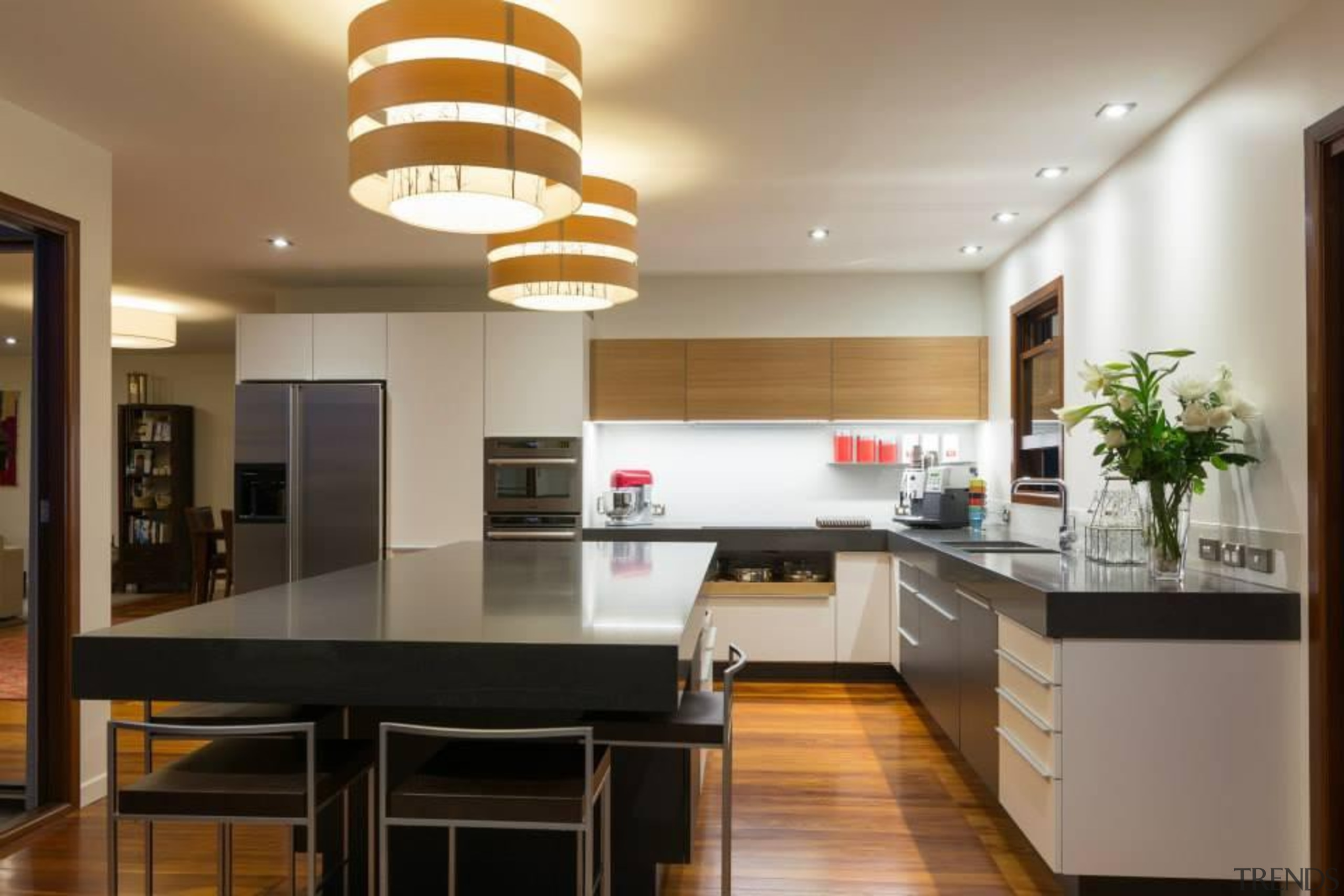 Straight on shot of this L shaped kitchen ceiling, countertop, interior design, kitchen, real estate, gray, brown