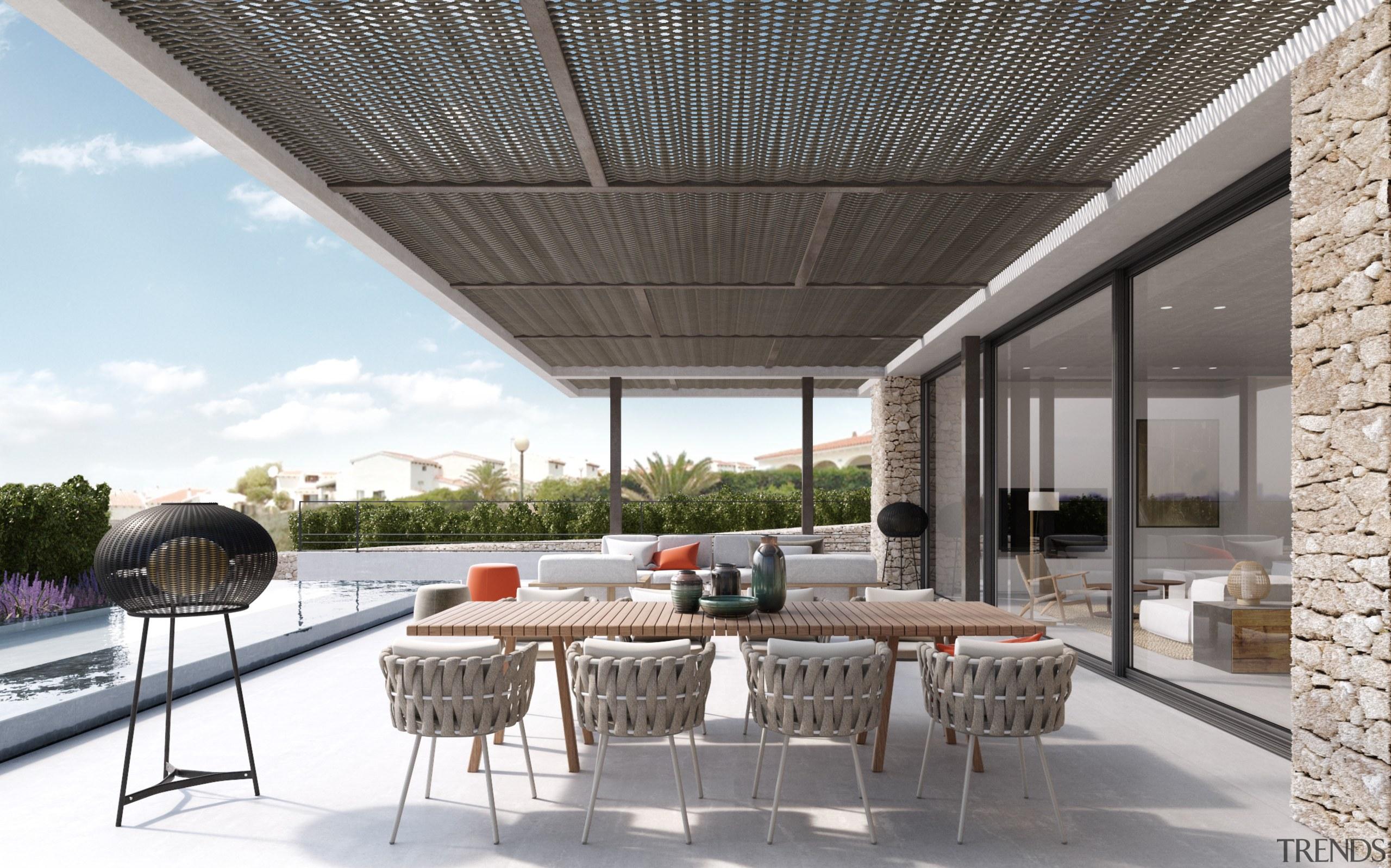 Island life – Terrace - house | interior house, interior design, patio, real estate, roof, white, gray