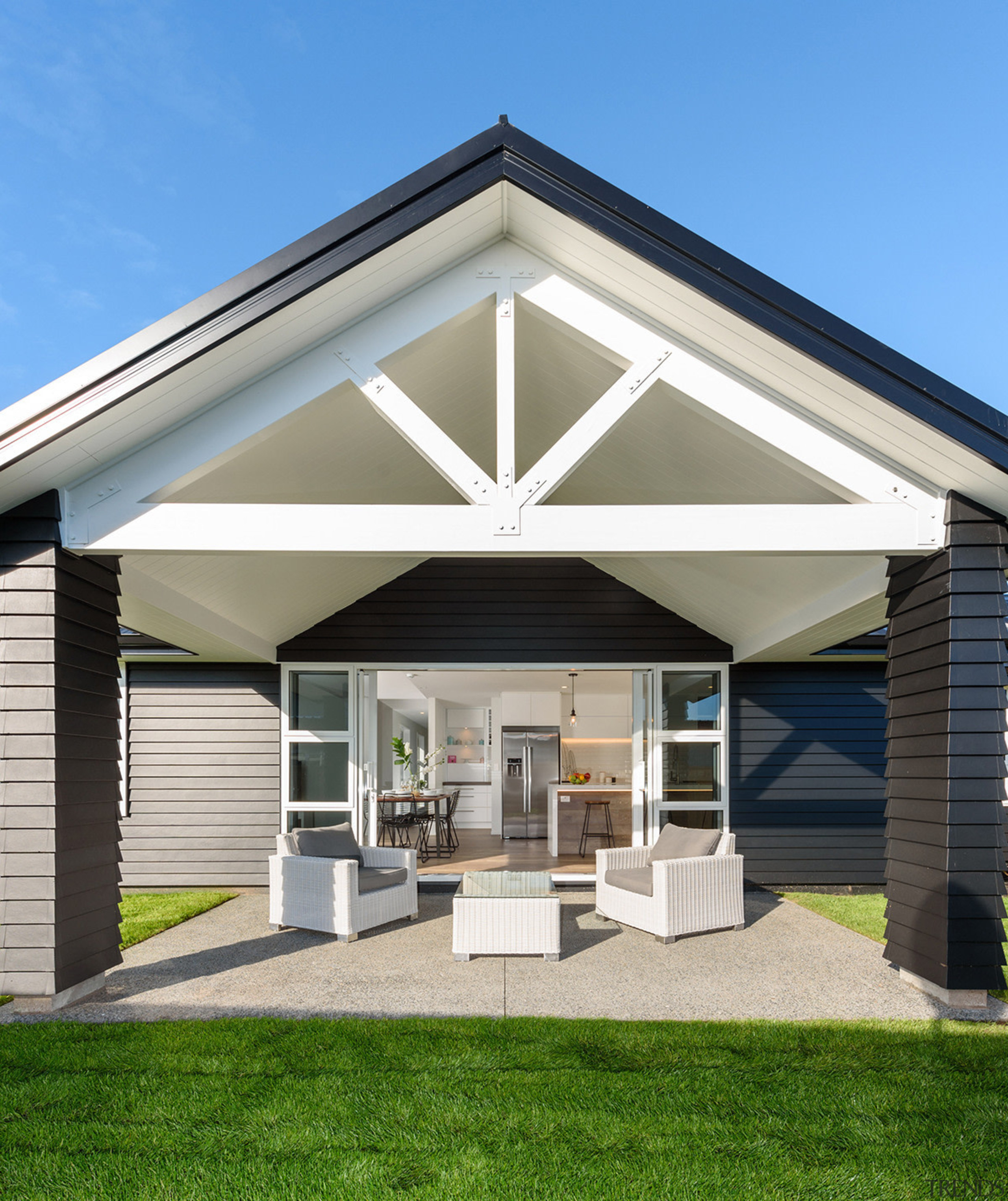 The large alfresco dining area is just one home, house, residential area, siding, New Home builder,  Sentinel Homes, Outside dining area,