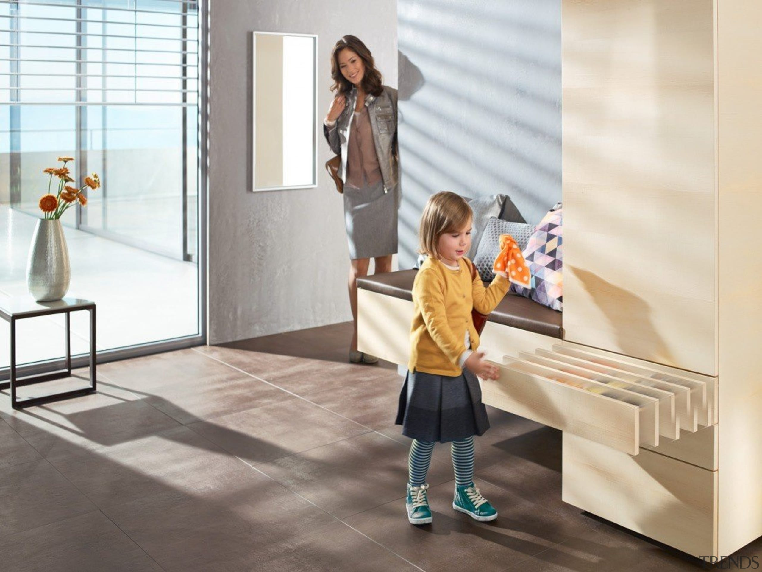 TIP-ON BLUMOTION for MOVENTO combines the advantages of floor, flooring, furniture, interior design, product, room, shoulder, standing, table, white
