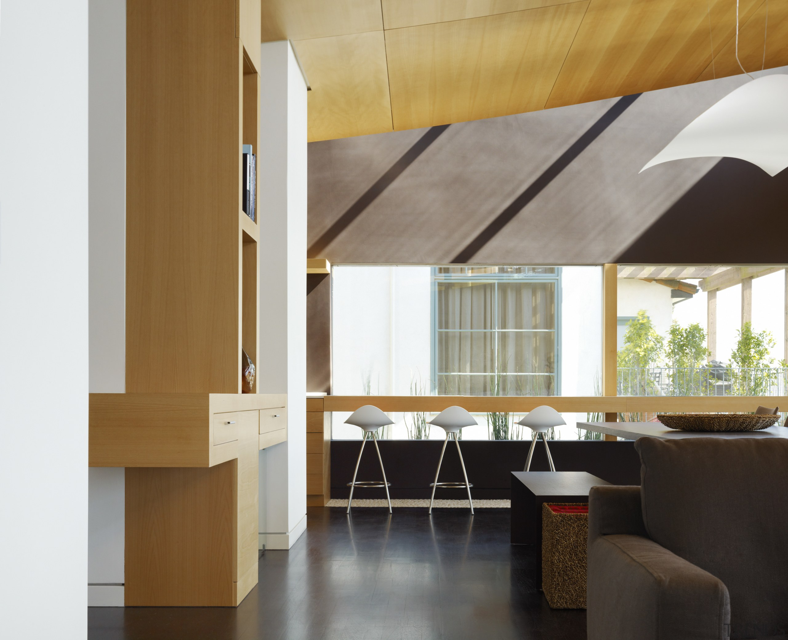 View of the breakfast bar with bar stools, architecture, ceiling, daylighting, furniture, interior design, table, gray