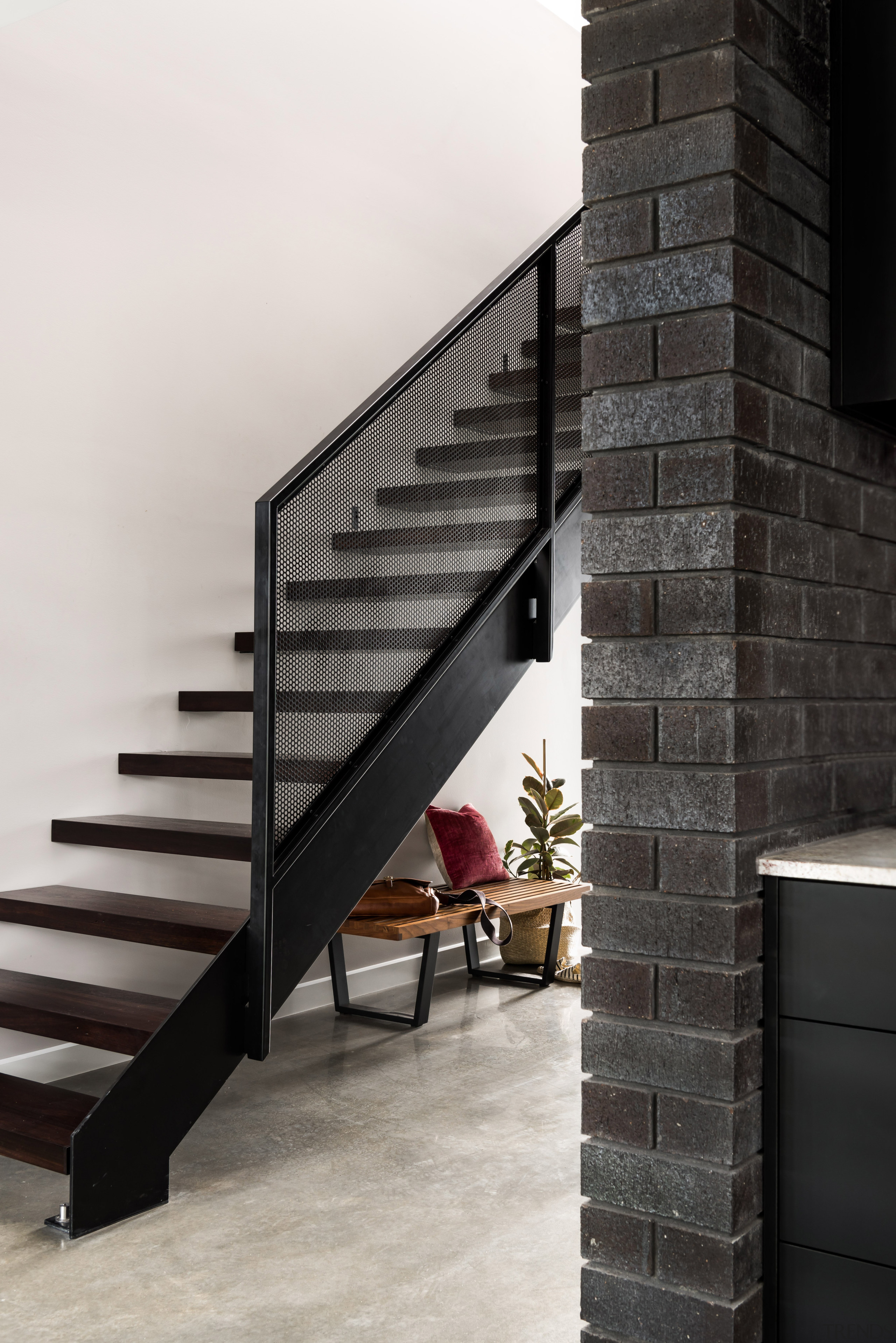 ​​​​​​​Past and present – jarrah treads, repurposed from architecture, concrete floor, handrail, home, house, interior design, stairs, jarrah treads, riserless hallway stairs, Dalecki Design