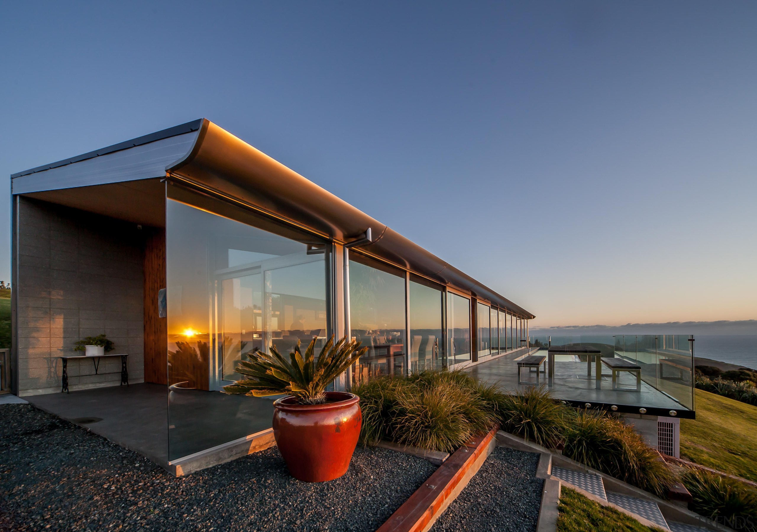 Capturing the spectacular views was a priority for architecture, estate, home, house, property, real estate, blue