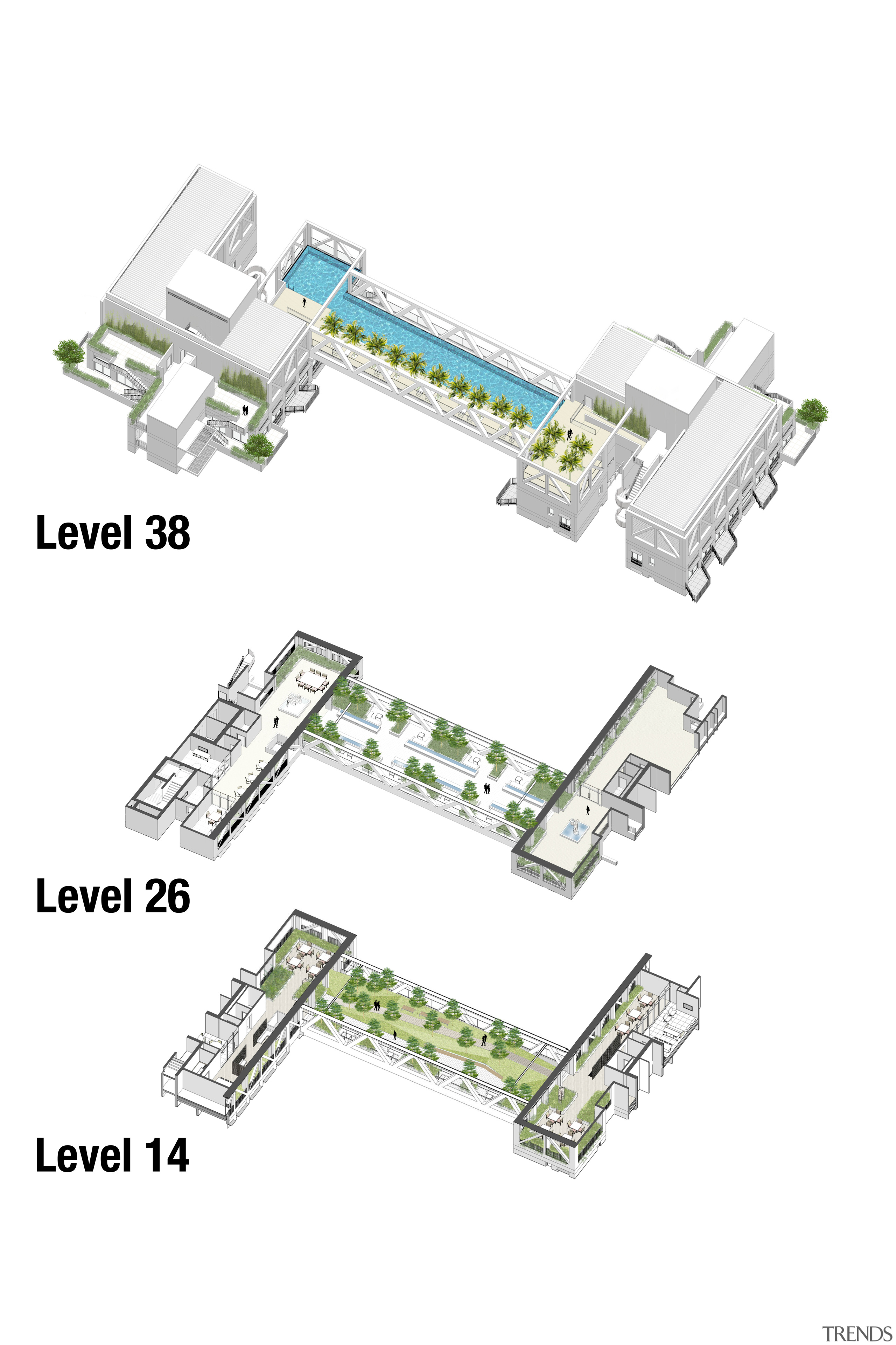 Plans of the three Sky Habitat sky bridges computer network, electrical connector, electronic component, electronics accessory, line, microcontroller, network interface controller, product, product design, technology, white