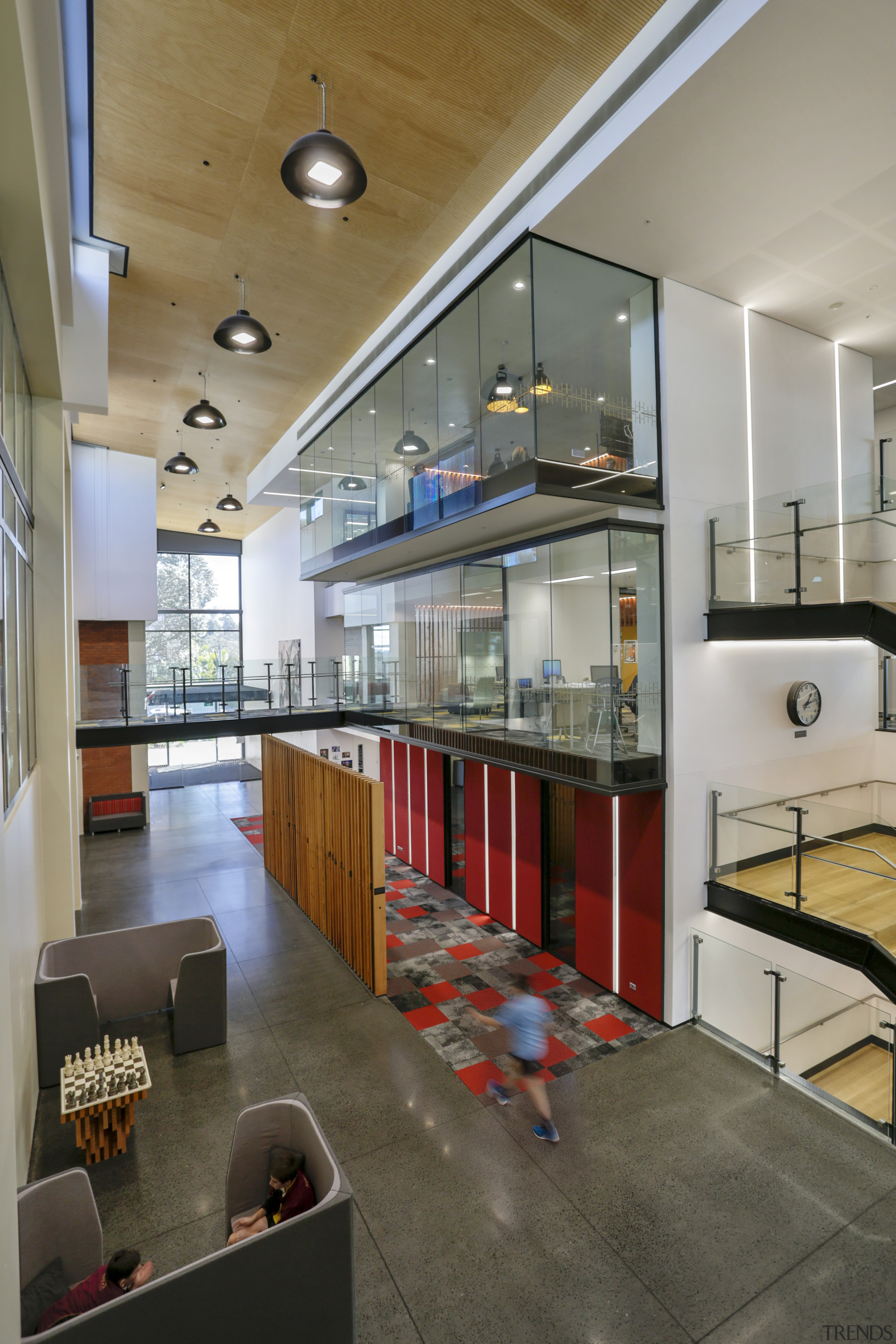 Heart of light – natural light is maximised architecture, ceiling, interior design, lobby, gray