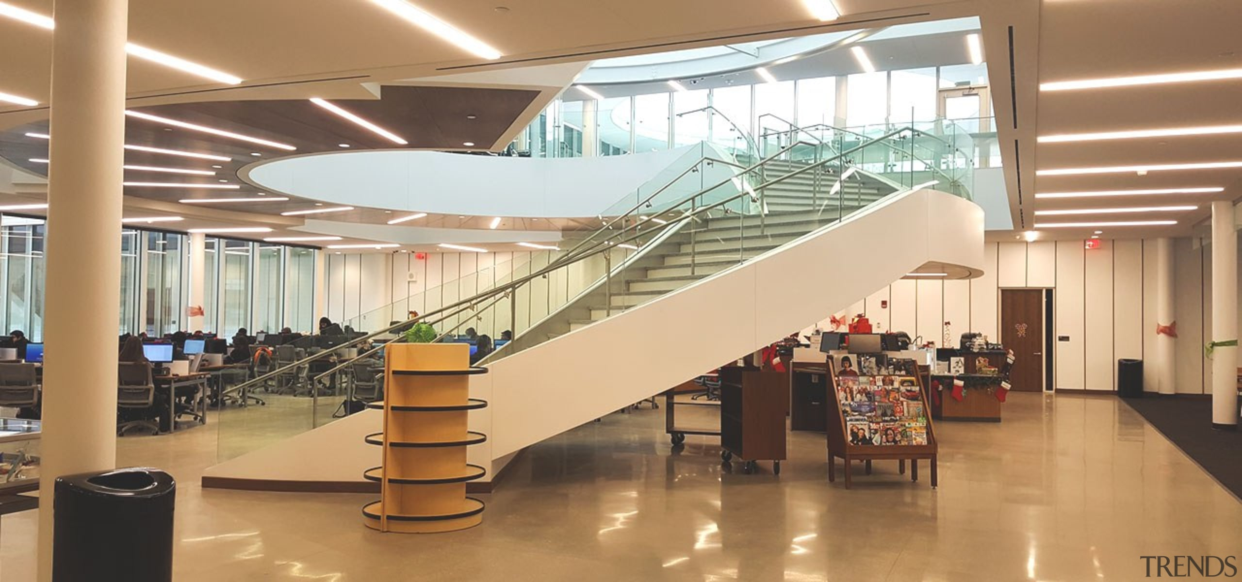 Suffolk County Community College 4 - architecture | architecture, building, glass, handrail, interior design, lobby, shopping mall, stairs, brown, orange