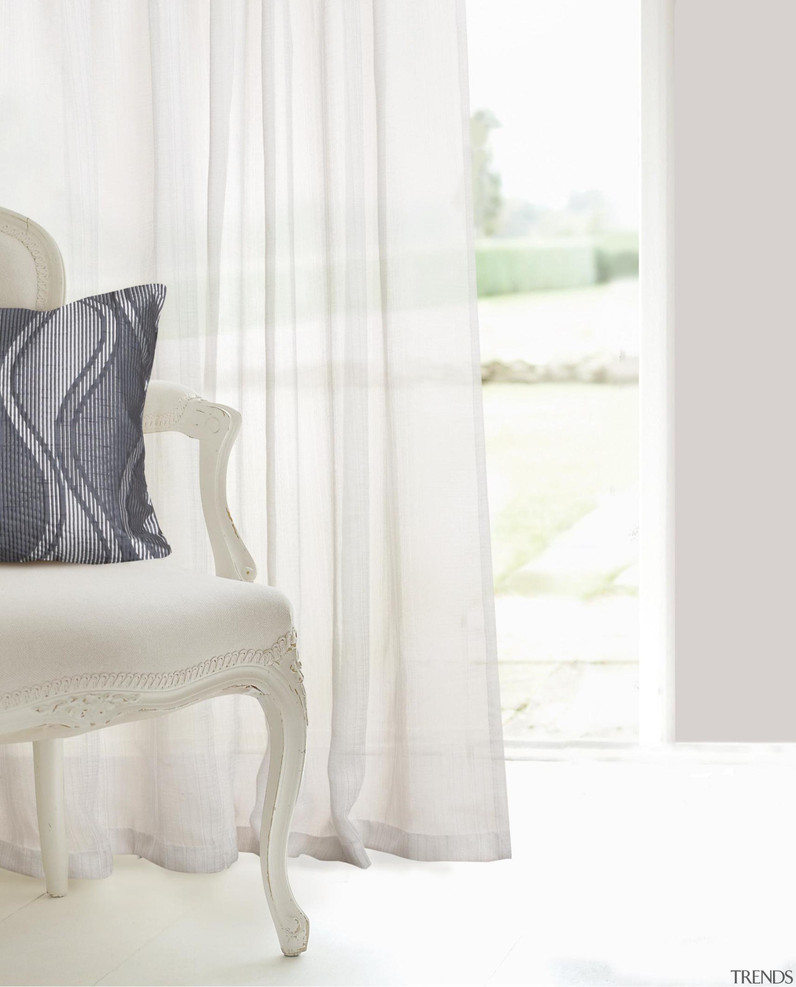 Meander - chair | curtain | cushion | chair, curtain, cushion, floor, furniture, interior design, product, table, textile, window, window treatment, white