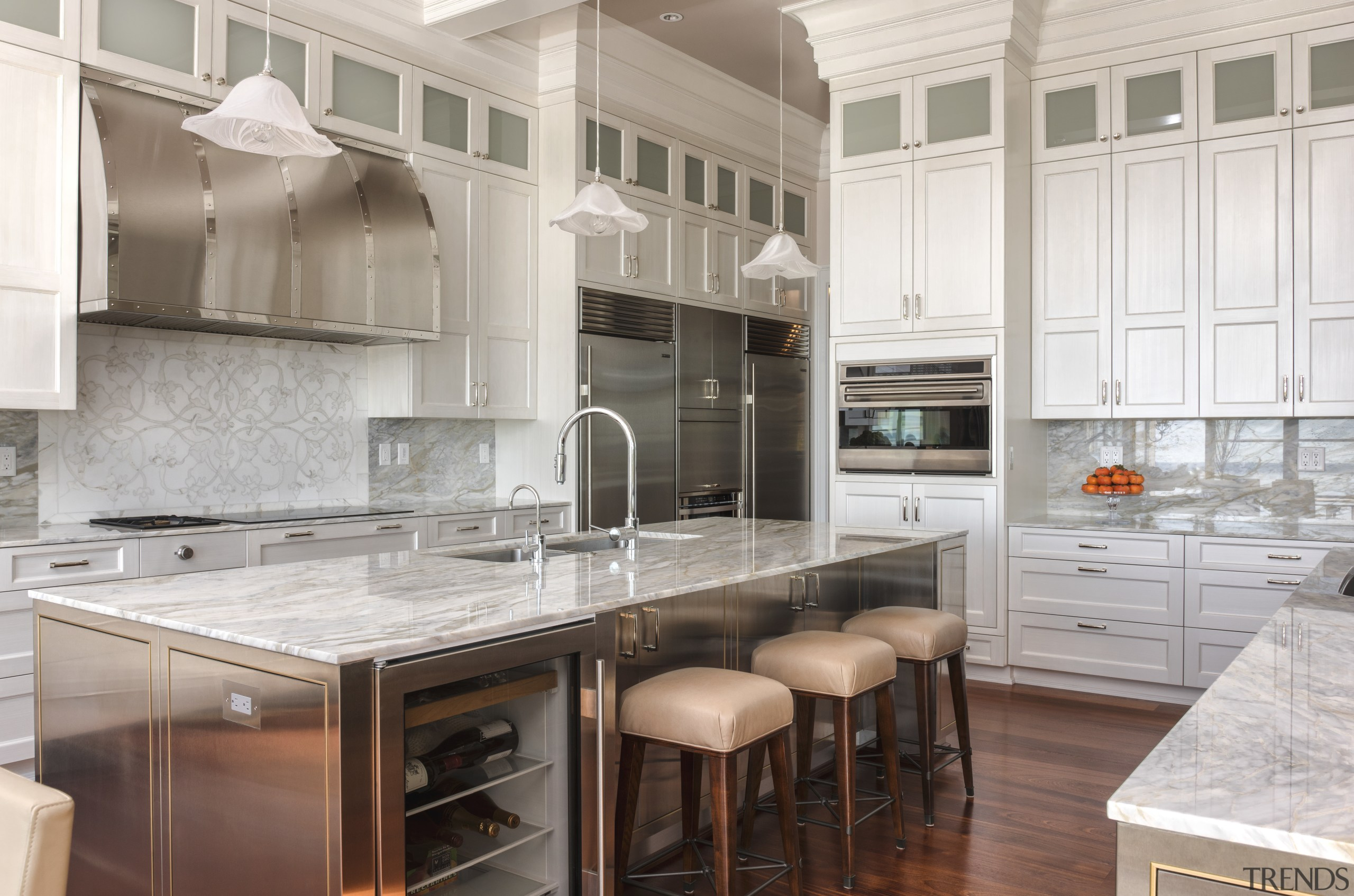 In this kitchen, both islands have prep sinks cabinetry, countertop, cuisine classique, interior design, kitchen, gray
