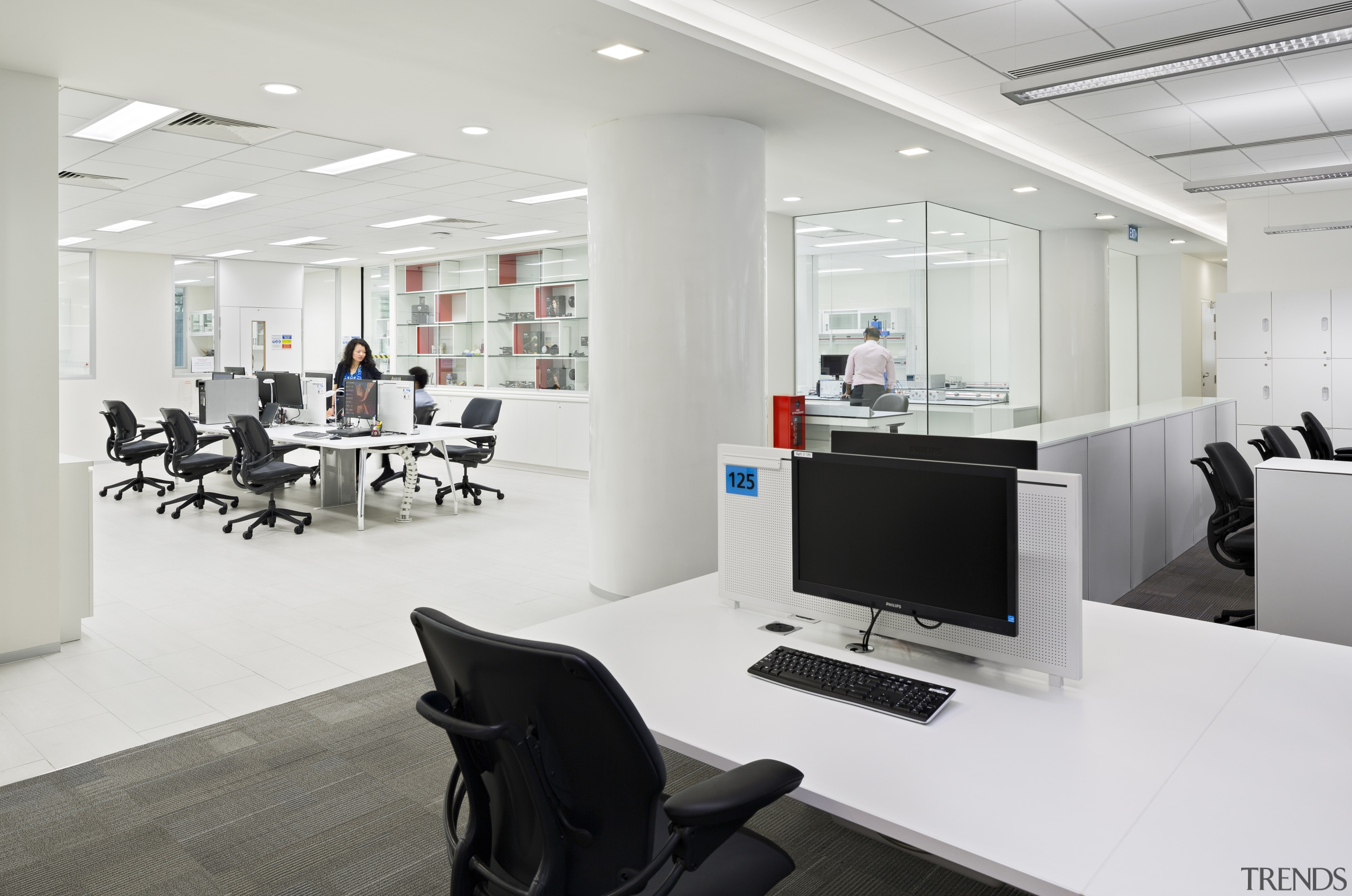 The key objective for the P&G Singapore fit-out interior design, office, product design, white