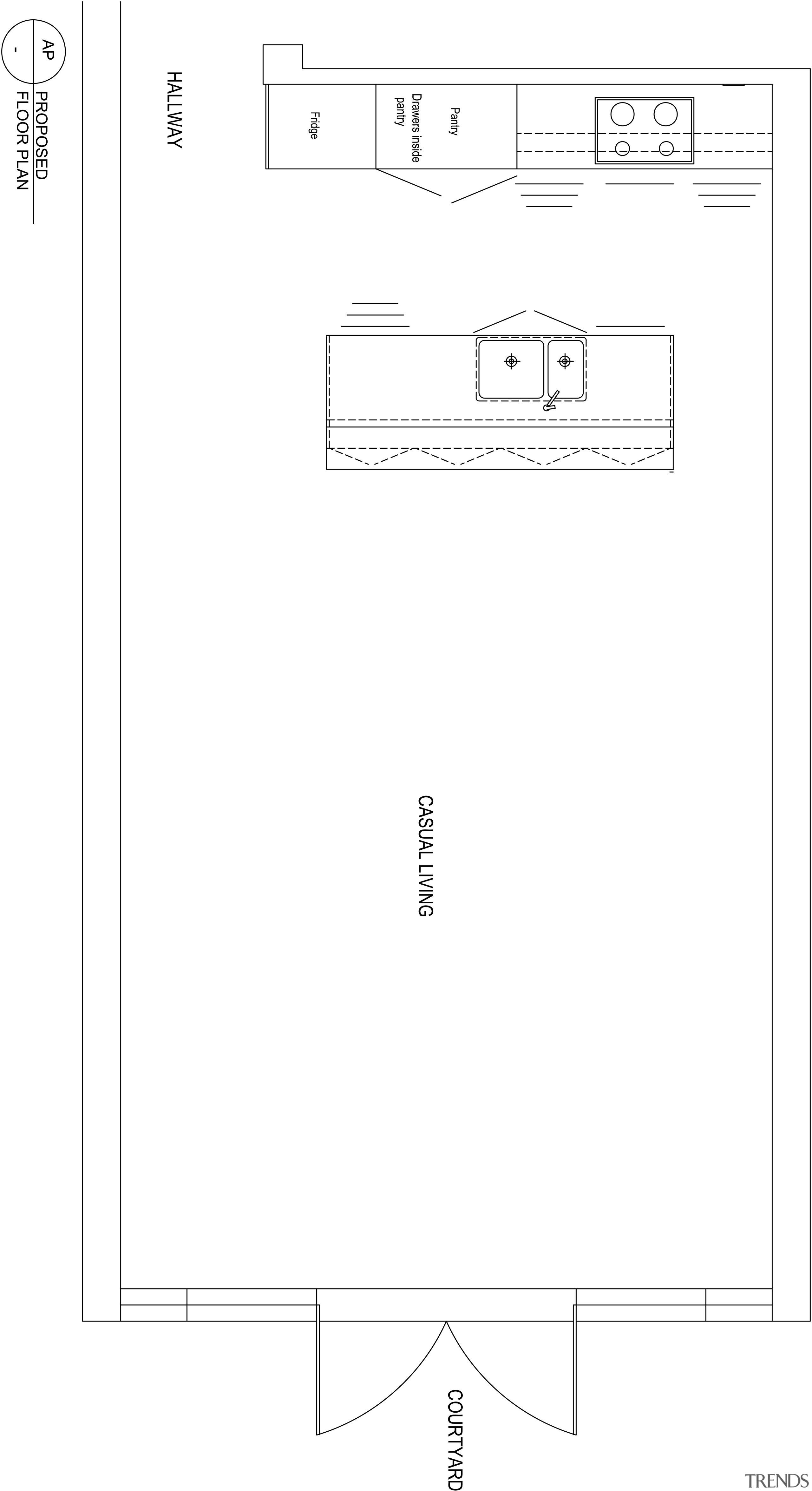 View of plans for minimal kitchen and dining angle, area, black and white, design, diagram, font, line, text, white, white