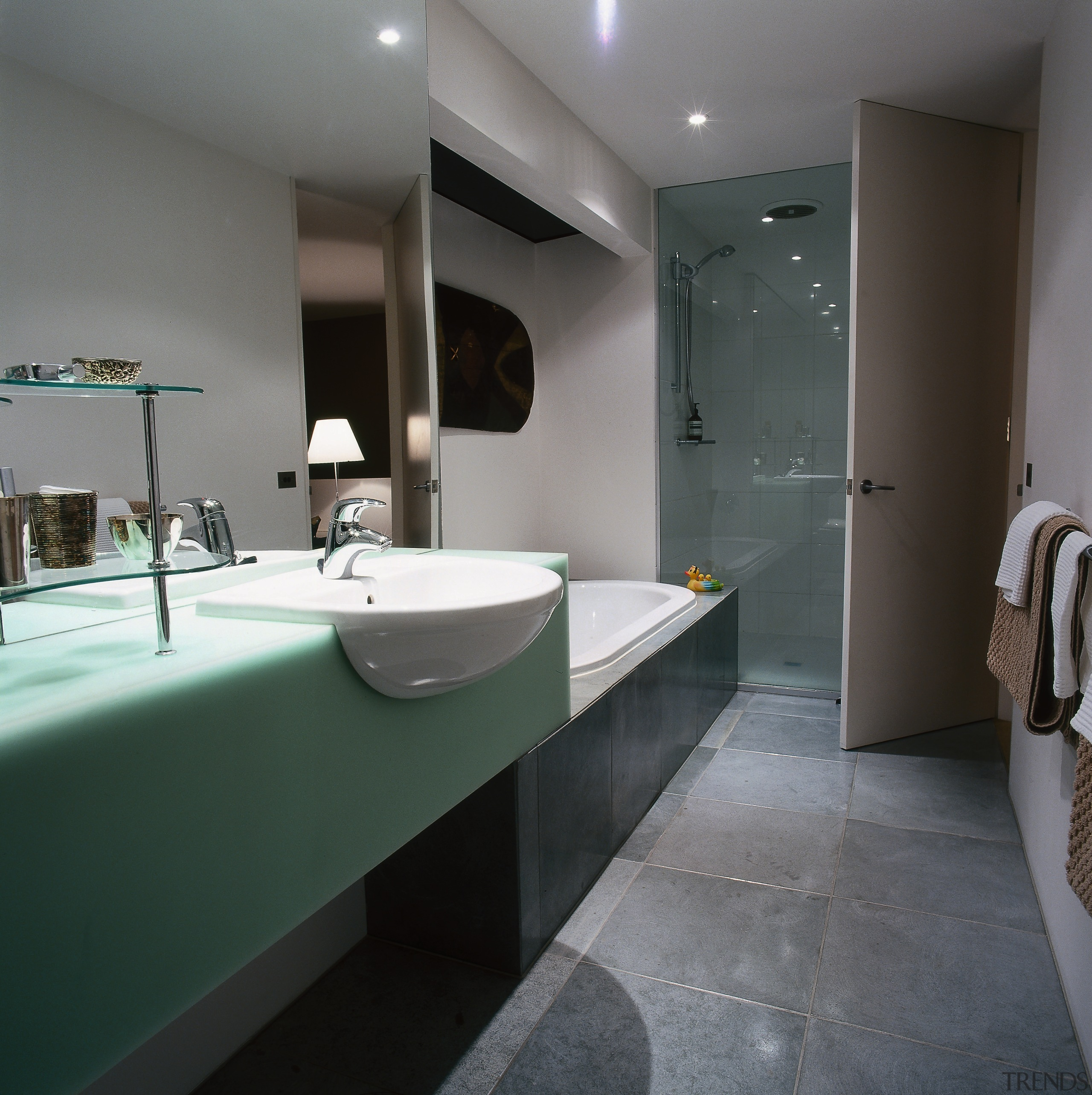 View of this home's ensuite - View of architecture, bathroom, floor, interior design, real estate, room, sink, gray, black