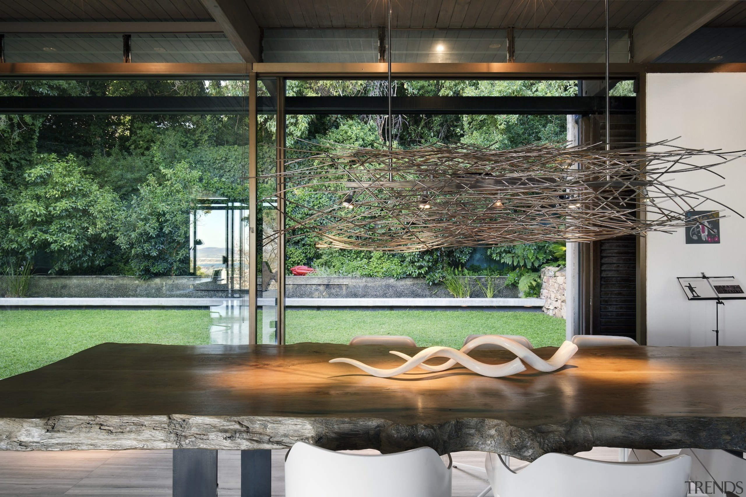 Significant work went into the interior design – architecture, home, house, interior design, table, window, black, gray