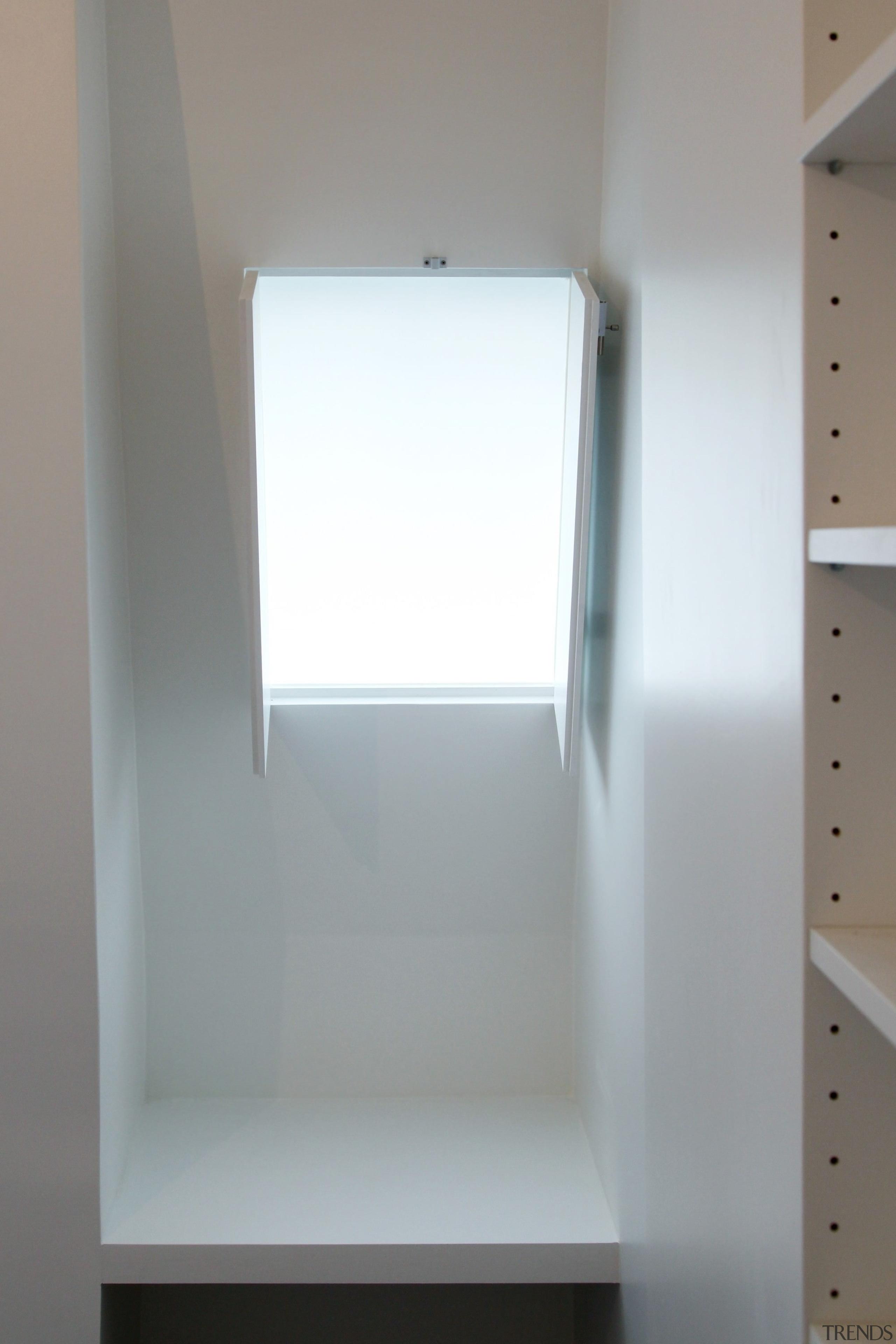 Architect: jbmn architectesPhotographer: Hermann Wendler daylighting, furniture, product design, shelf, shelving, gray, white