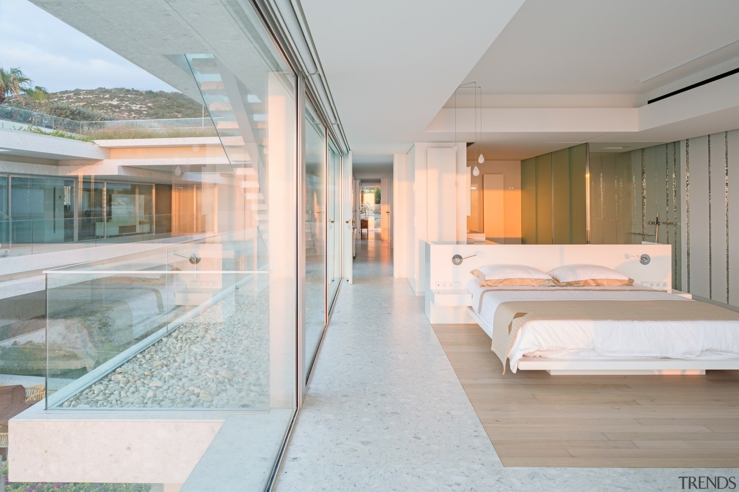 Another one of the bedrooms with a bathroom architecture, ceiling, estate, house, interior design, real estate, gray