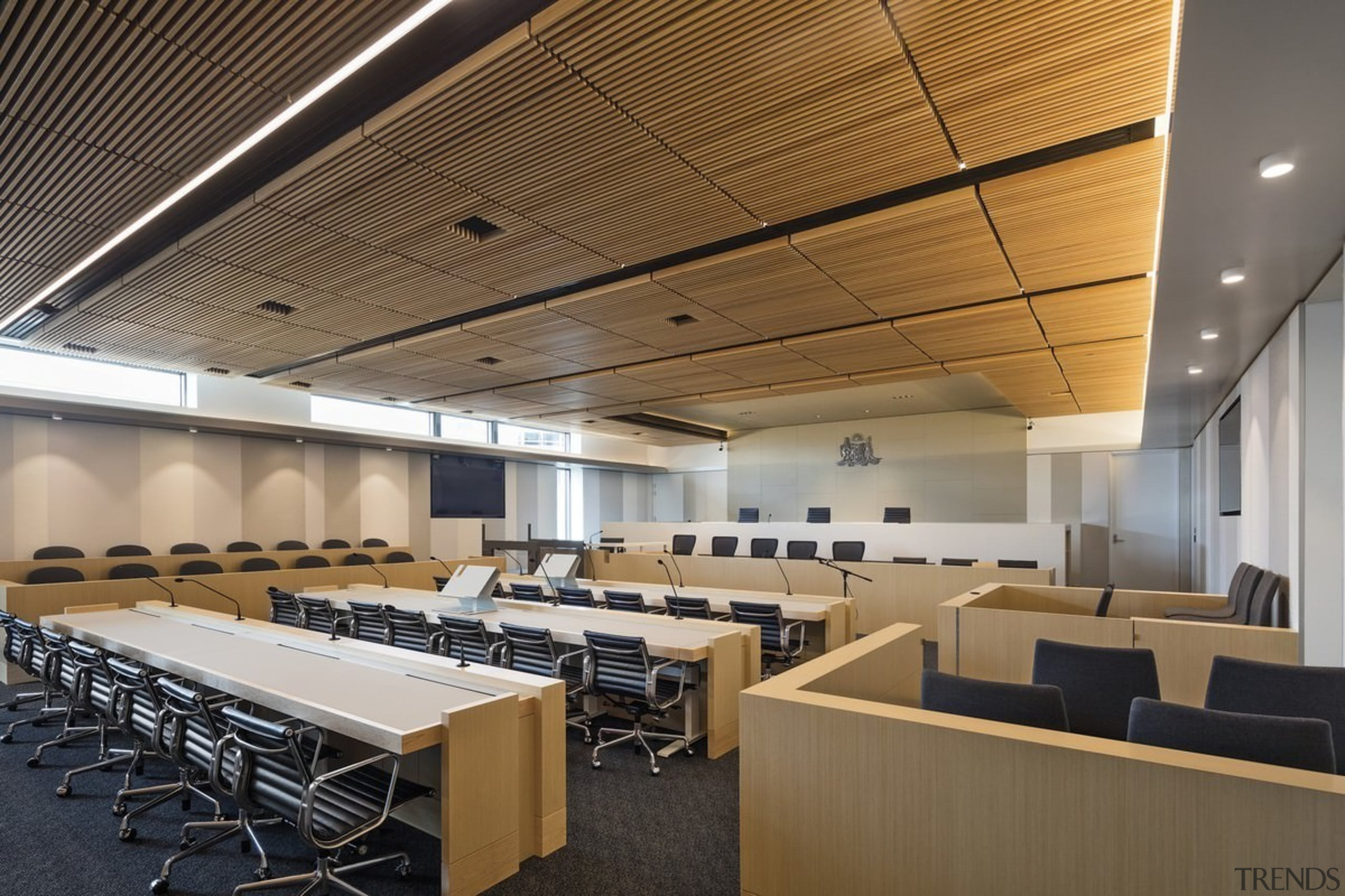 Newcastle Courthouse – Cox Architecture - Newcastle Courthouse auditorium, ceiling, classroom, conference hall, daylighting, interior design, office, brown, gray