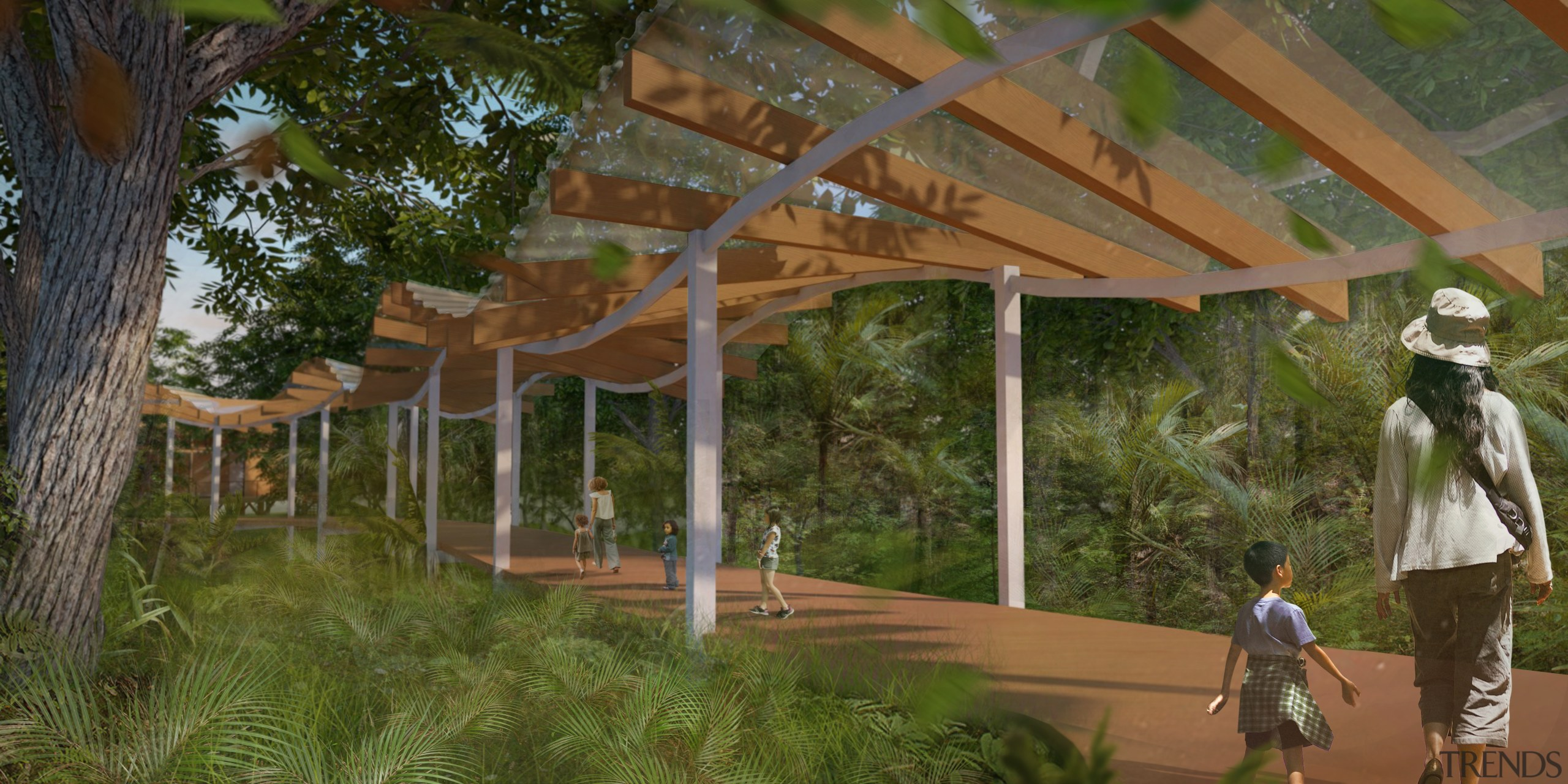 A fully-inspired Gaia based childcare centre planned to architecture, home, house, outdoor structure, pavilion, plant, property, real estate, tree, brown
