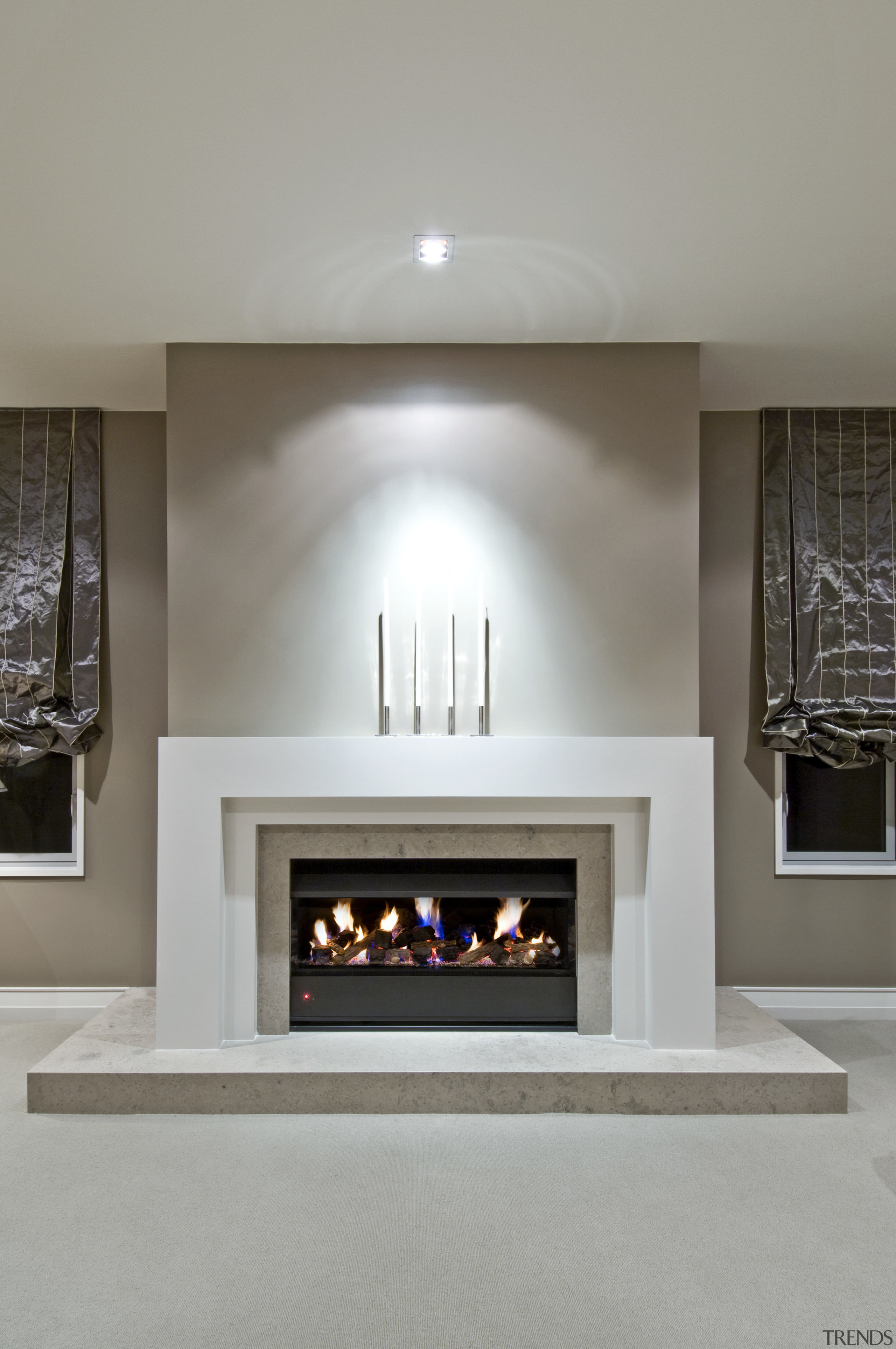 The formal lounge features the Minimal fireplace in fireplace, hearth, home, interior design, living room, gray