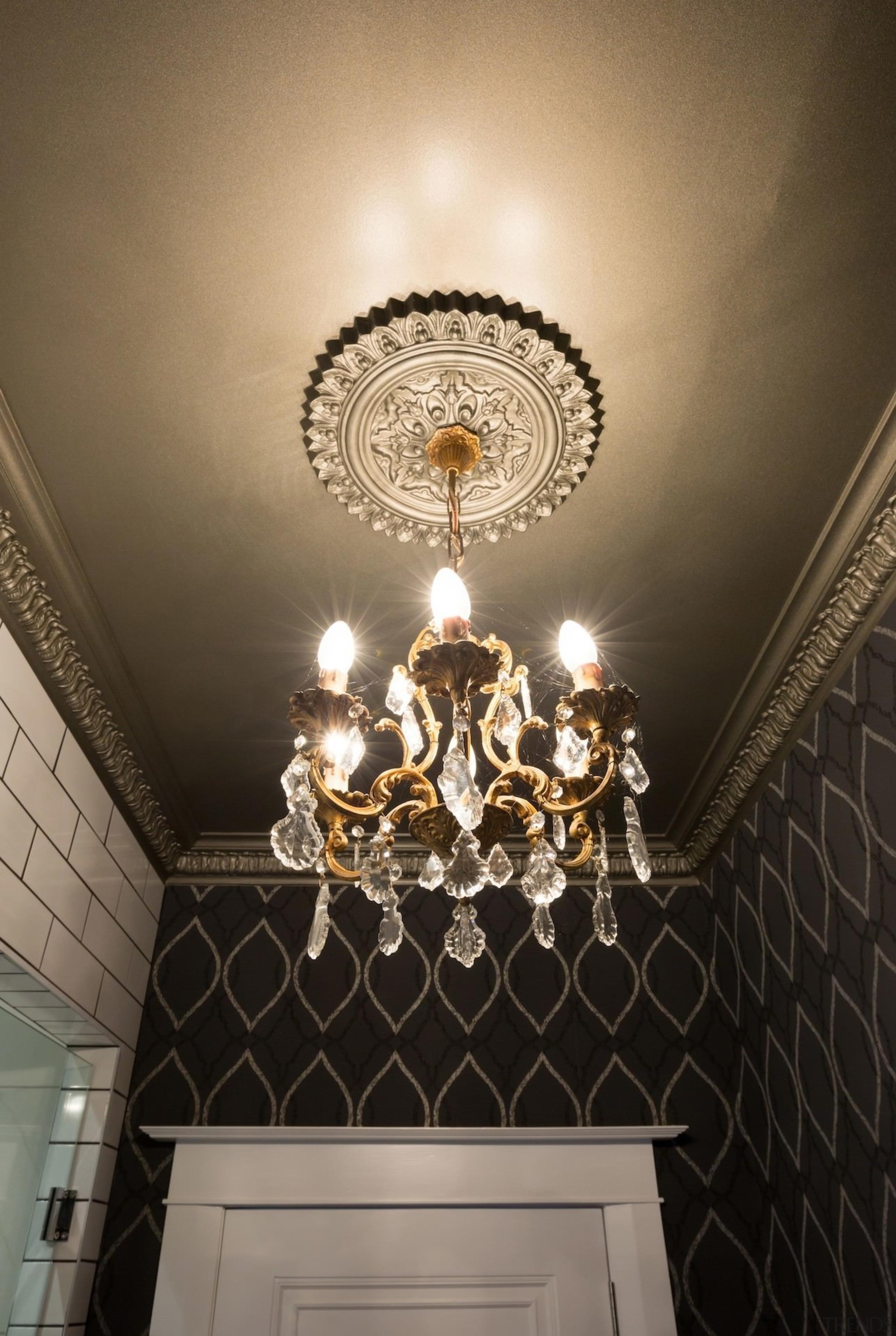 Chandelier and patterned wallpaper in powder room designed ceiling, chandelier, decor, light, light fixture, lighting, wall, black, brown