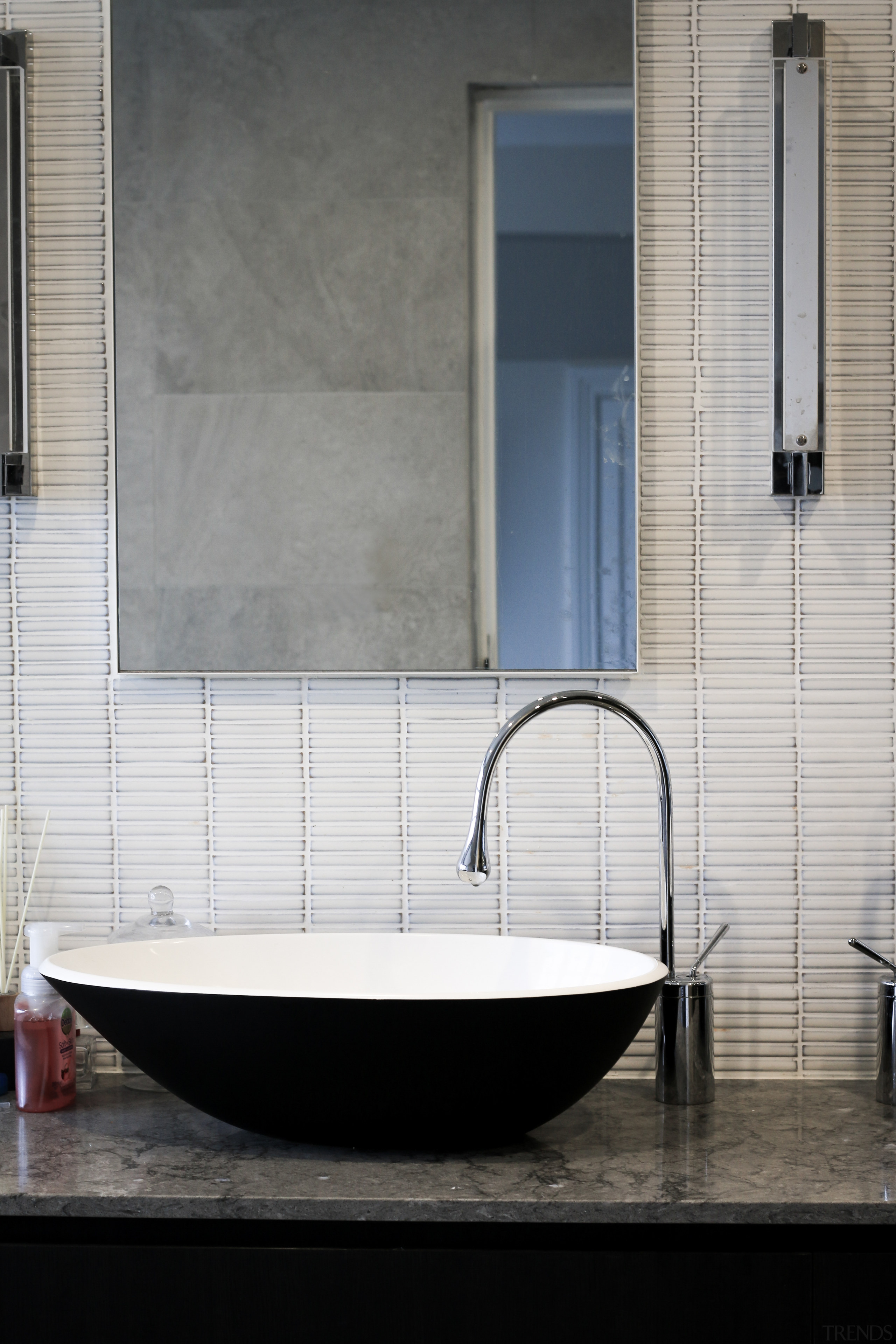 Contemporary elements dovetail with classic, such as Art architecture, bathroom, bathtub, black, door, floor, flooring, glass, house, interior design, material property, plumbing fixture, property, room, shade, tile, wall, window, gray