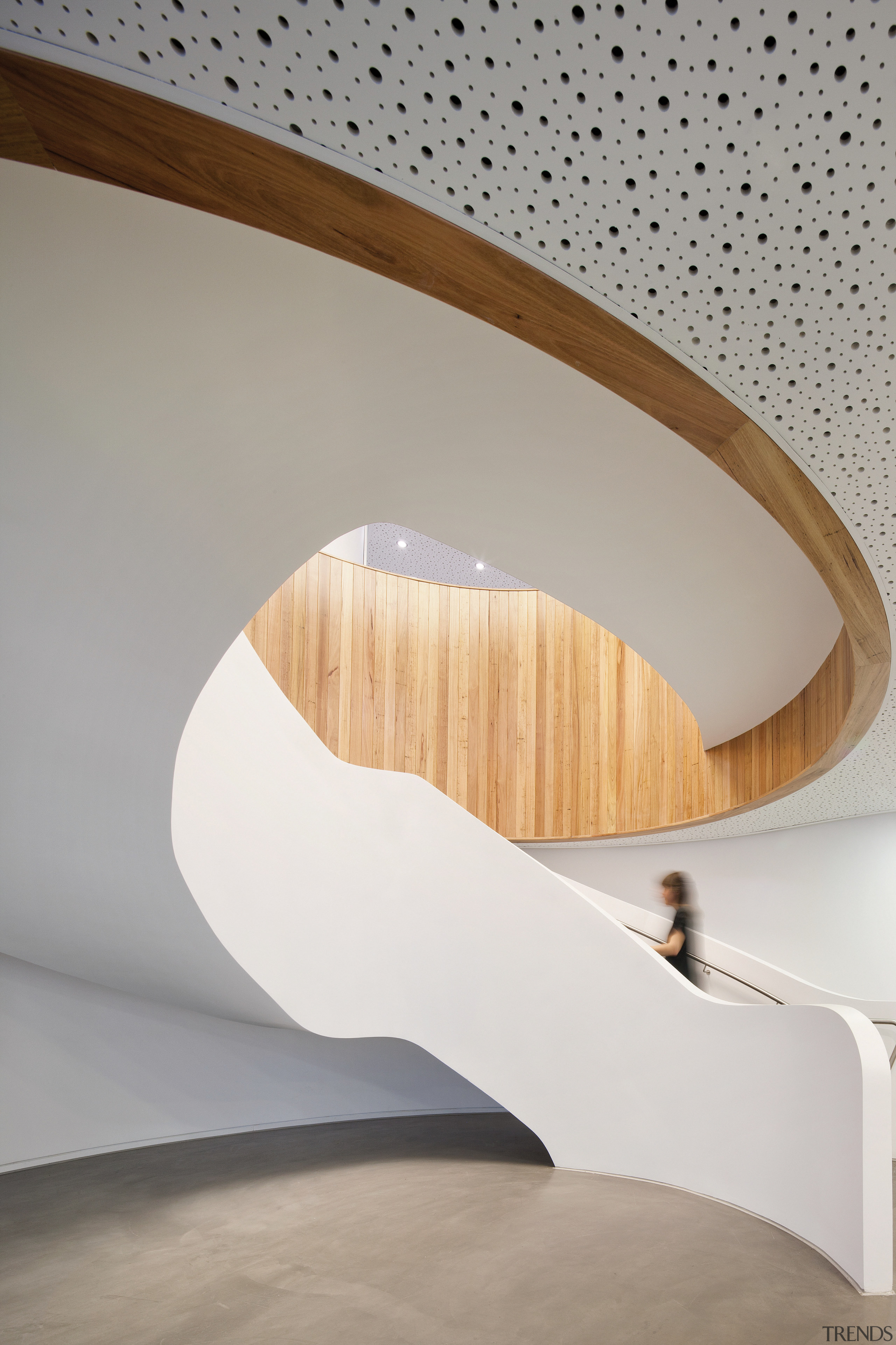 The spiral staircase in the new Brookfield Multiplex angle, architecture, ceiling, furniture, interior design, lighting, plywood, product design, table, tap, wood, gray